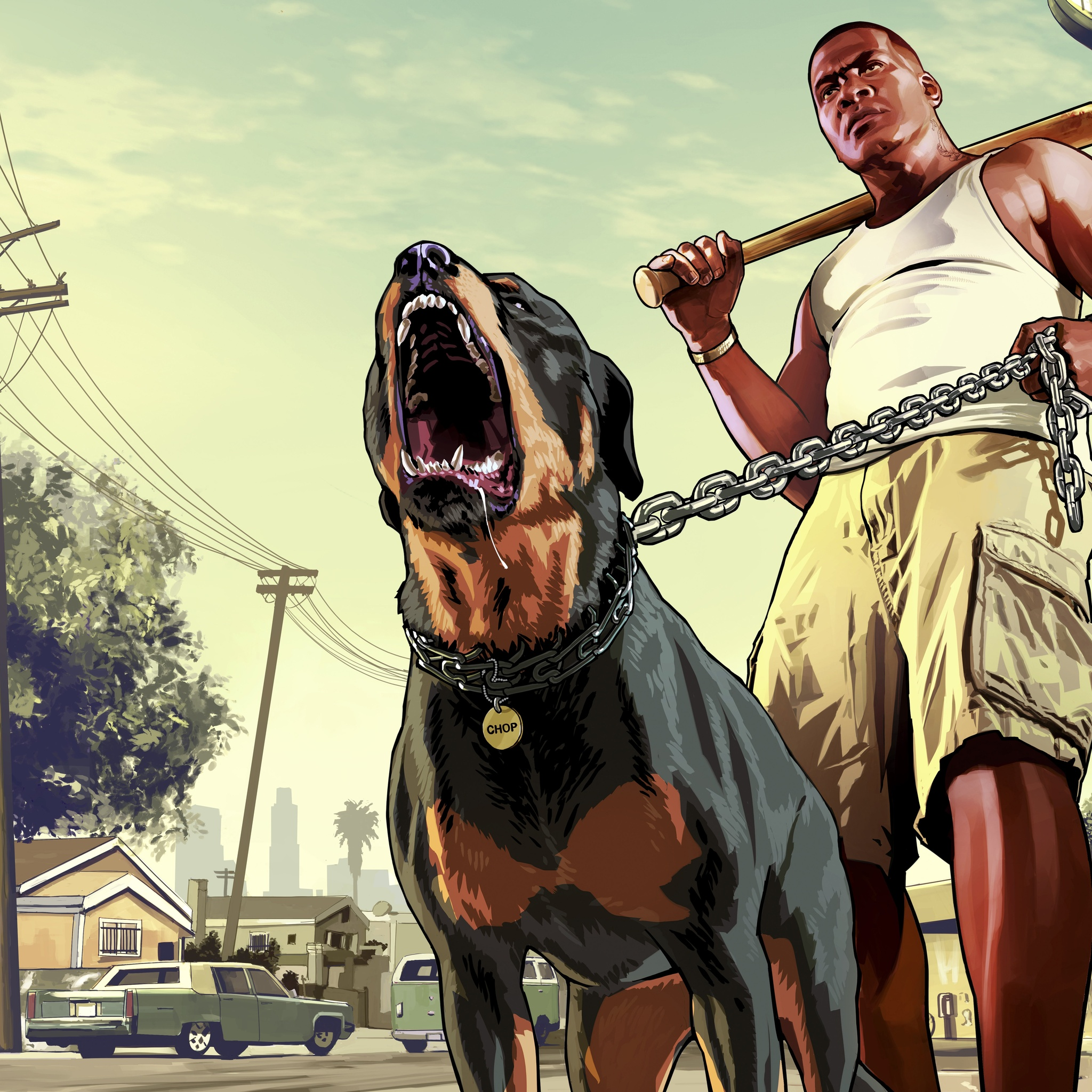 2048x2048 Gta 5 Franklin With Chop Rottweiler 8k Ipad Air