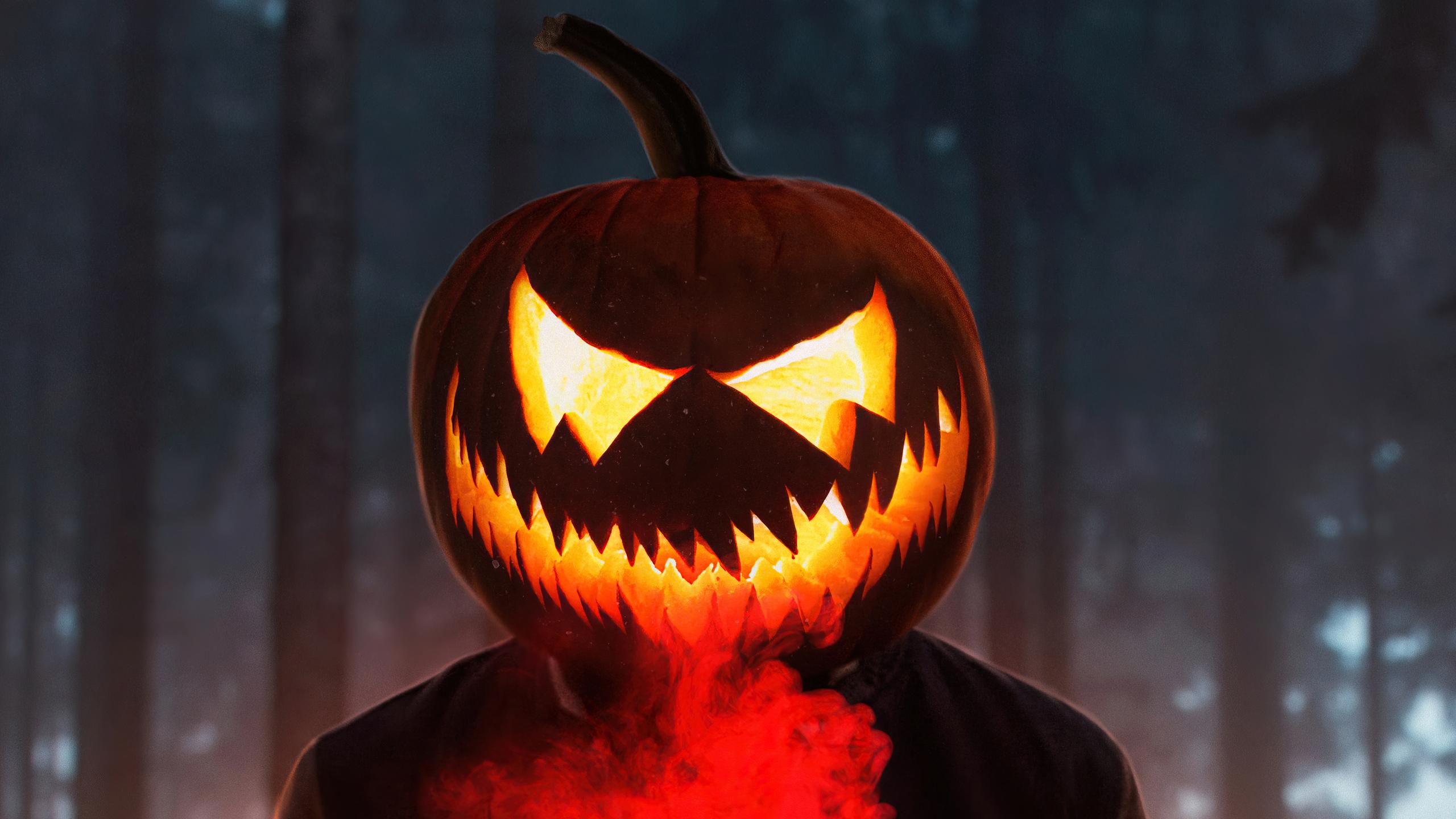 2560x1440 Halloween Glowing Mask Boy 4k 1440P Resolution ...
