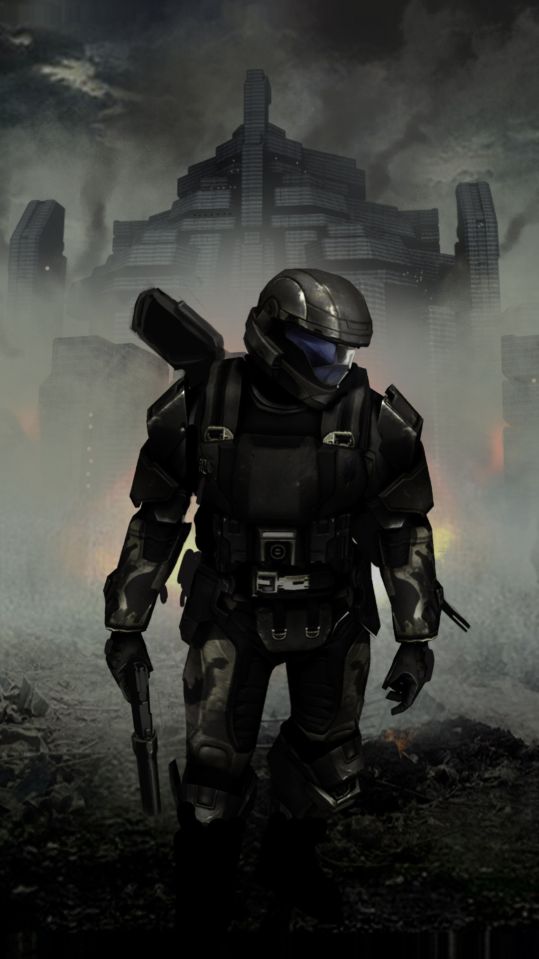 1080x1920 halo 3 odst concept art 4k iphone 7,6s,6 plus, pixel xl