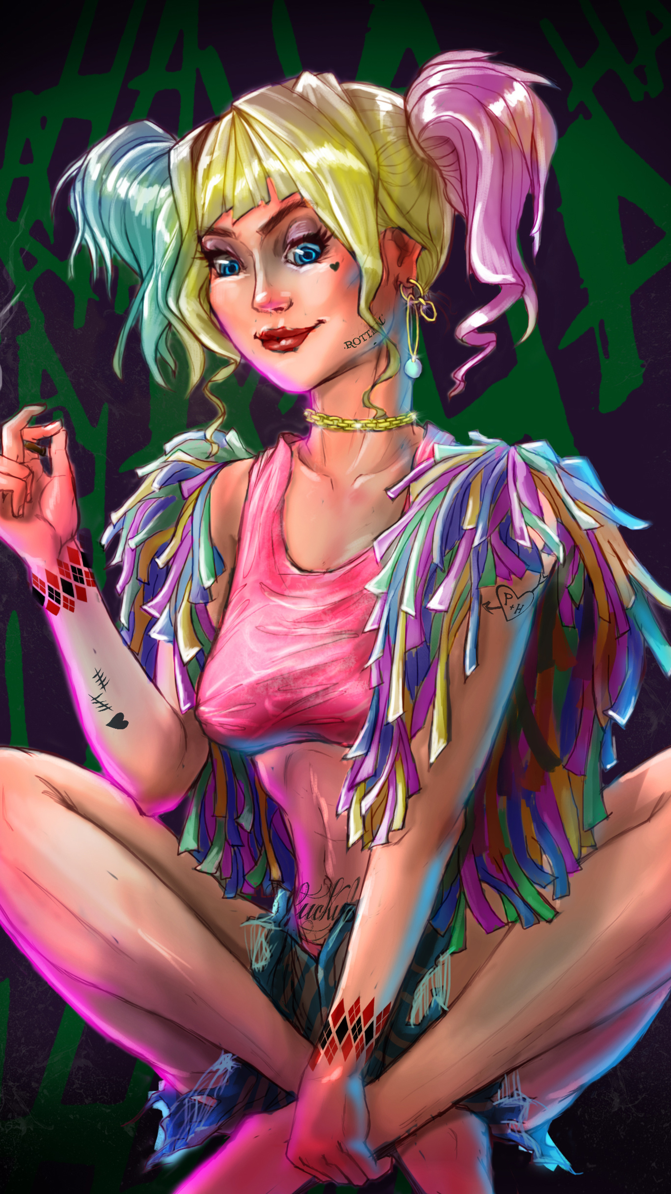 2160x3840 Harley Quinn Anime Artwork Sony Xperia X,XZ,Z5
