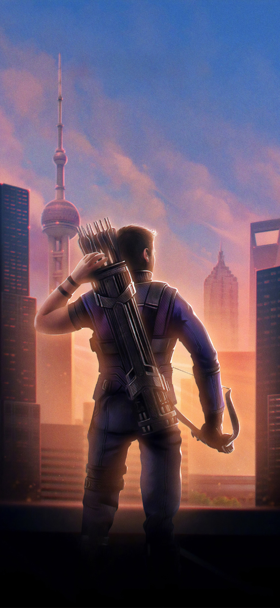 1125x2436 Hawkeye Avengers Endgame Chinese Poster Iphone Xs