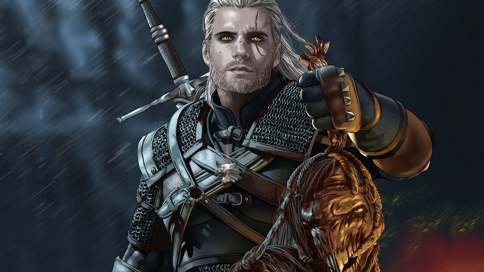 1600x900 Henry Cavill As Geralt Of Rivia 1600x900 Resolution