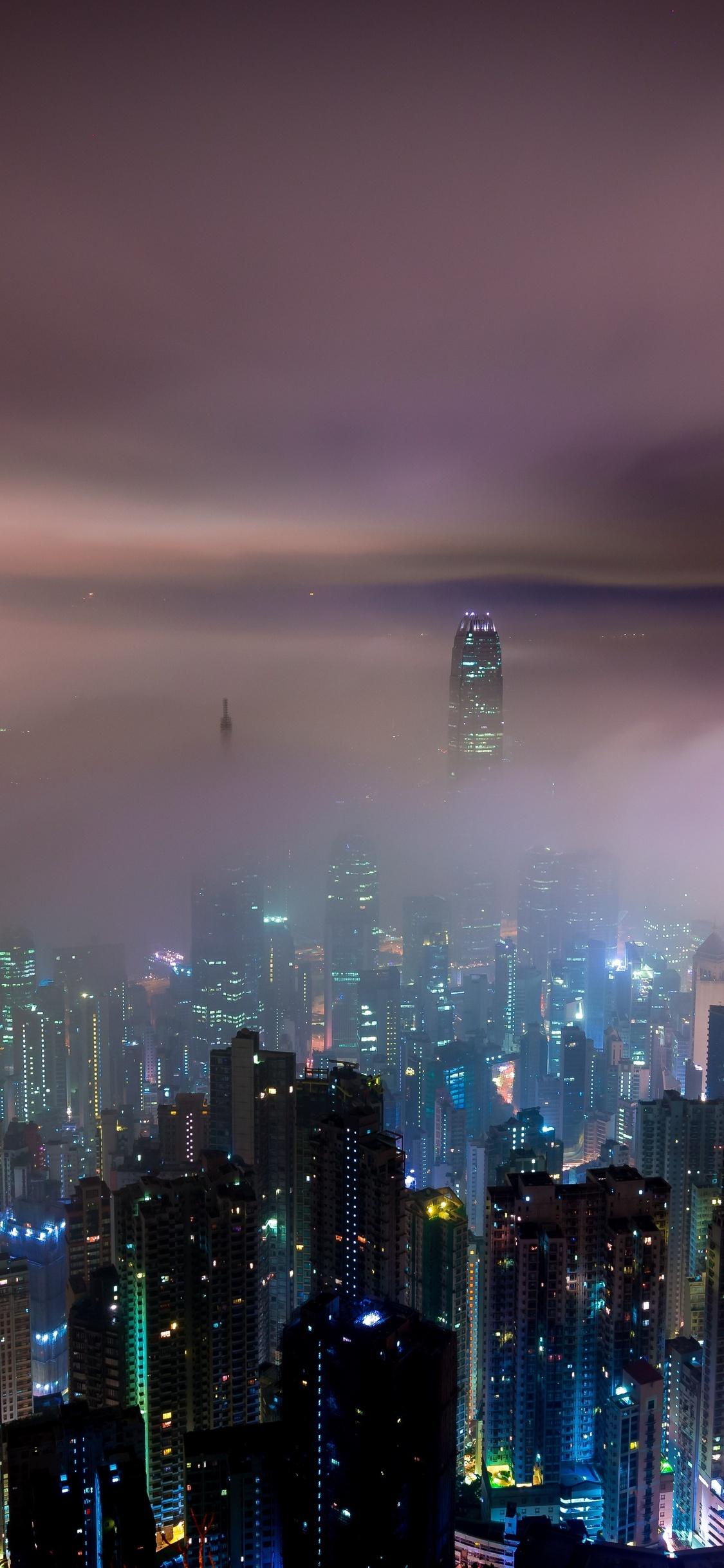 1125x2436 Hong Kong Buildings Night Lights Mist Iphone Xs