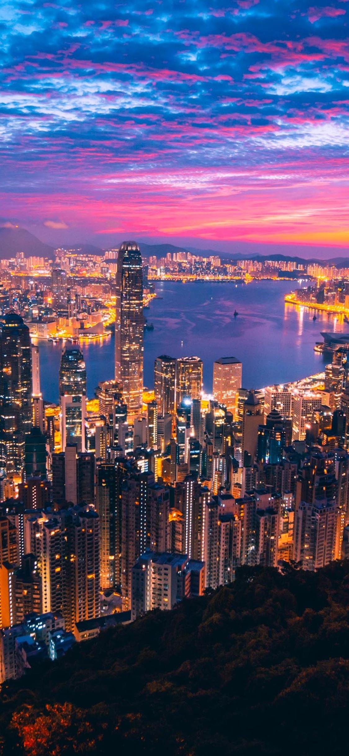 1125x2436 Hong Kong City View Buildings Light Night Iphone