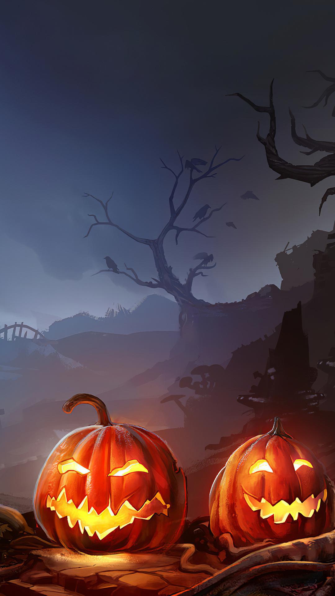 1080x1920 Horror Pumpkins Halloween 4k Iphone 7 6s 6 Plus Pixel