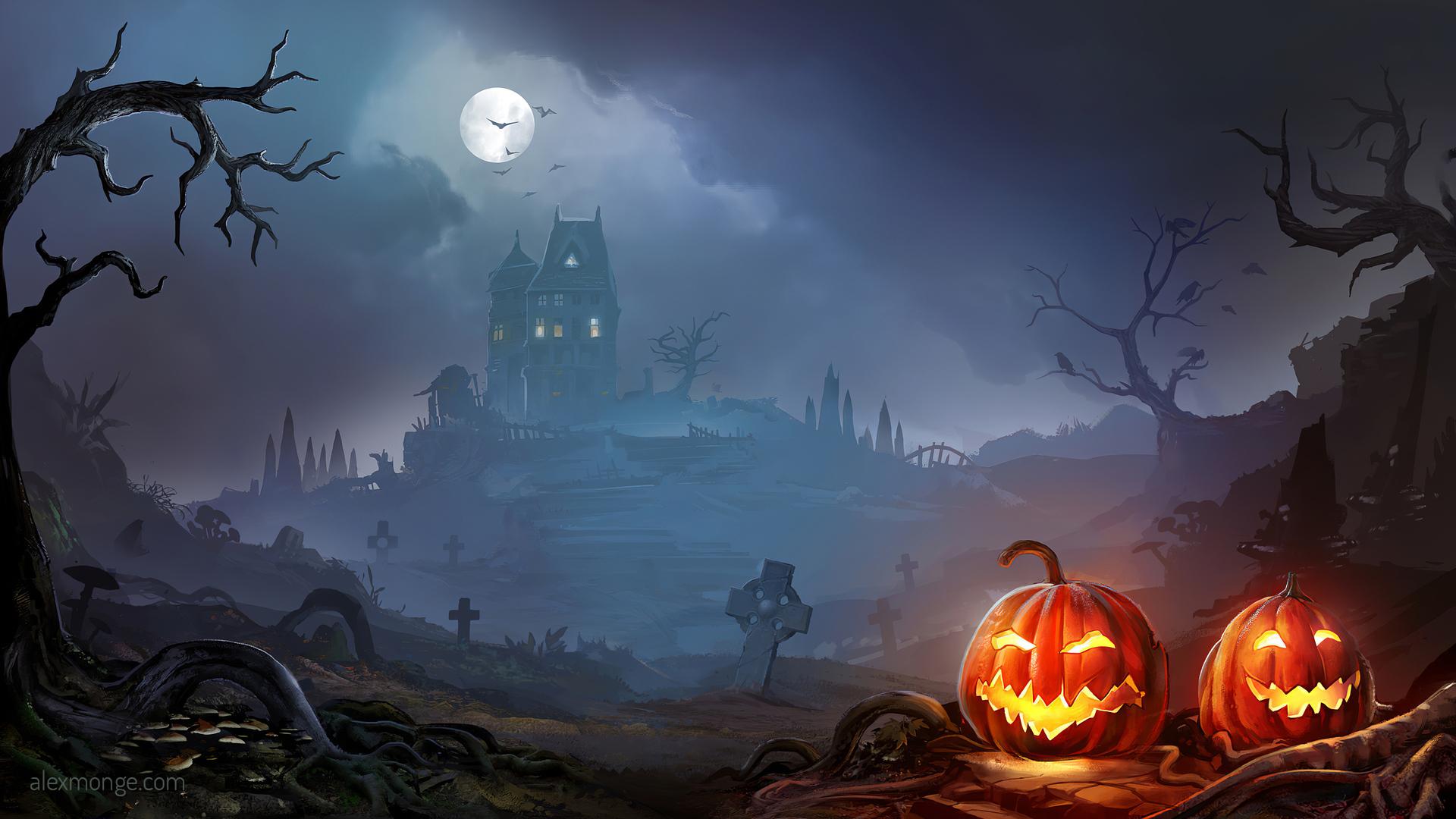 horror pumpkins halloween 4k jf