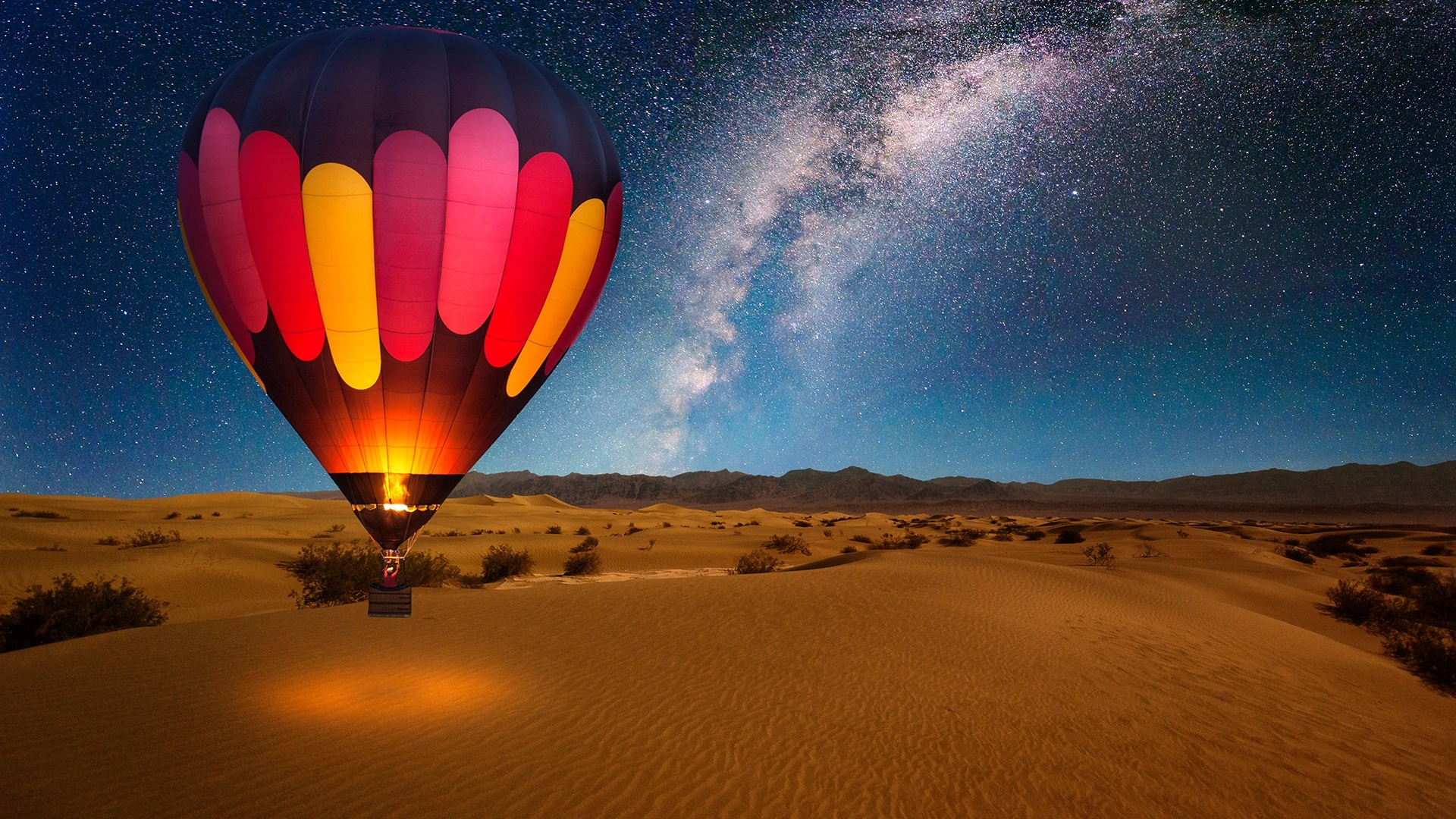 1920x1080 hot air balloon on desert night laptop full hd 1080p hd 4k wallpapers images - Air wallpaper hd ...