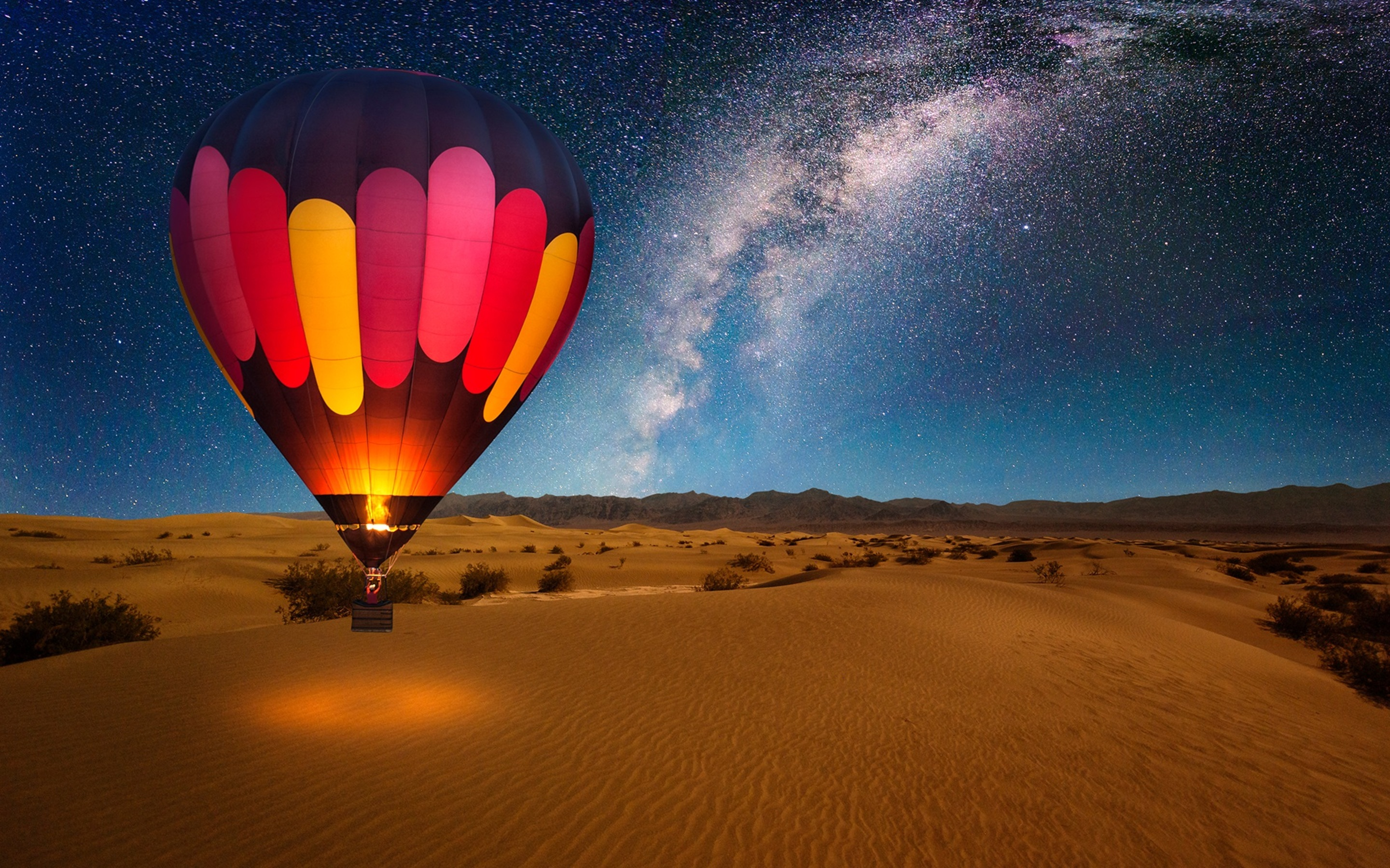 2880x1800 Hot Air Balloon On Desert Night Macbook Pro Retina Hd 4k Wallpapers Images Backgrounds Photos And Pictures