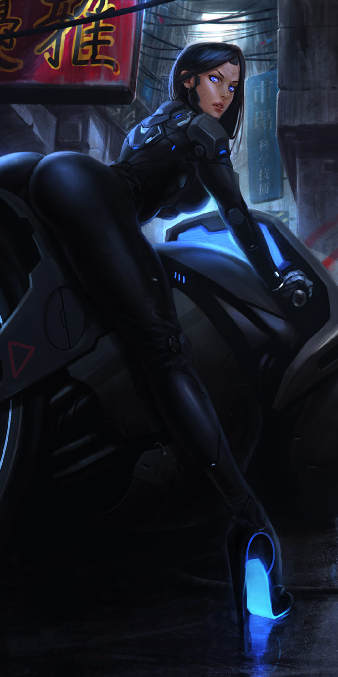 1080x2160 Hot Girl On Tron Bike Artwork One Plus 5t Honor 7x Honor