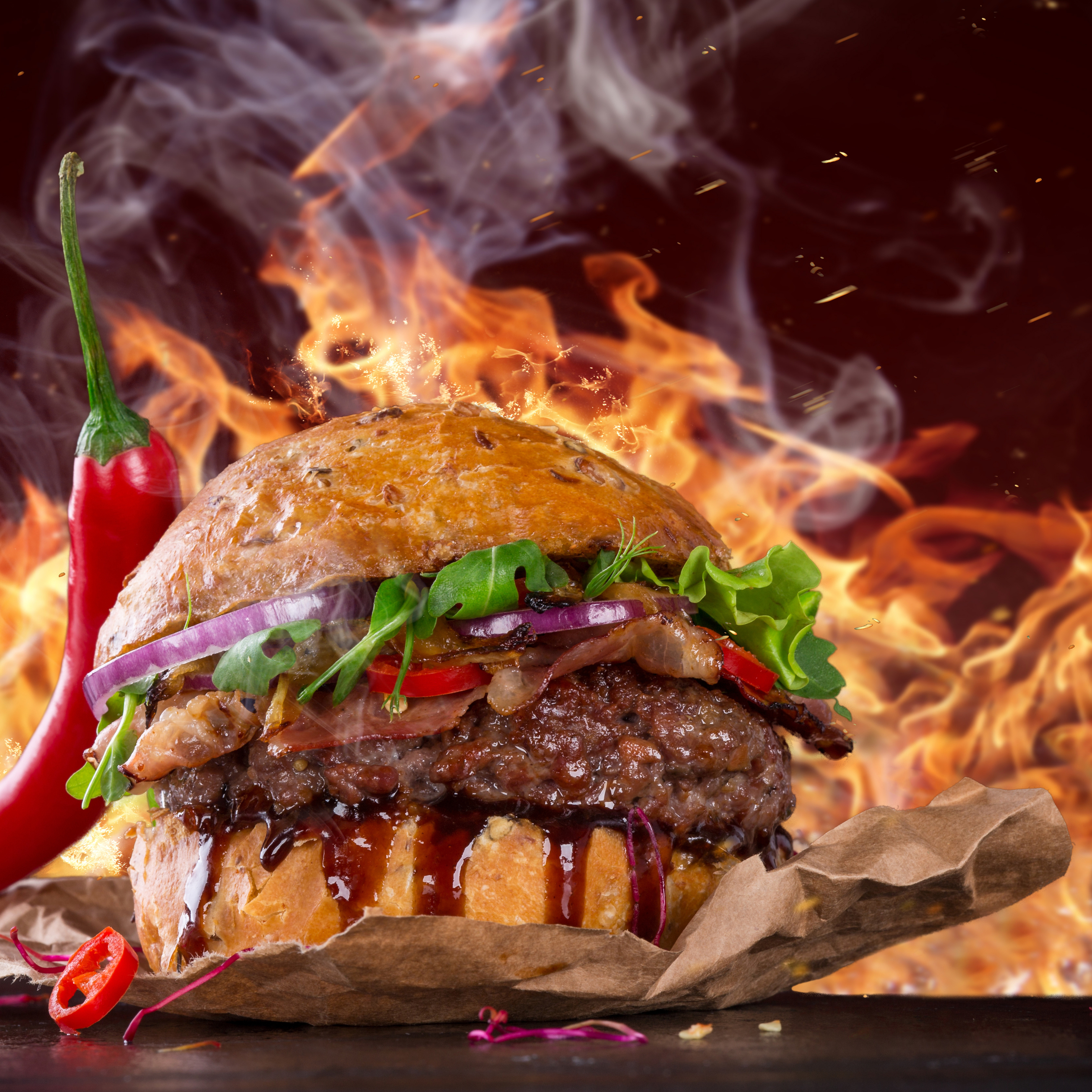 2932x2932 Hot Spicy Burger Ipad Pro Retina Display HD 4k
