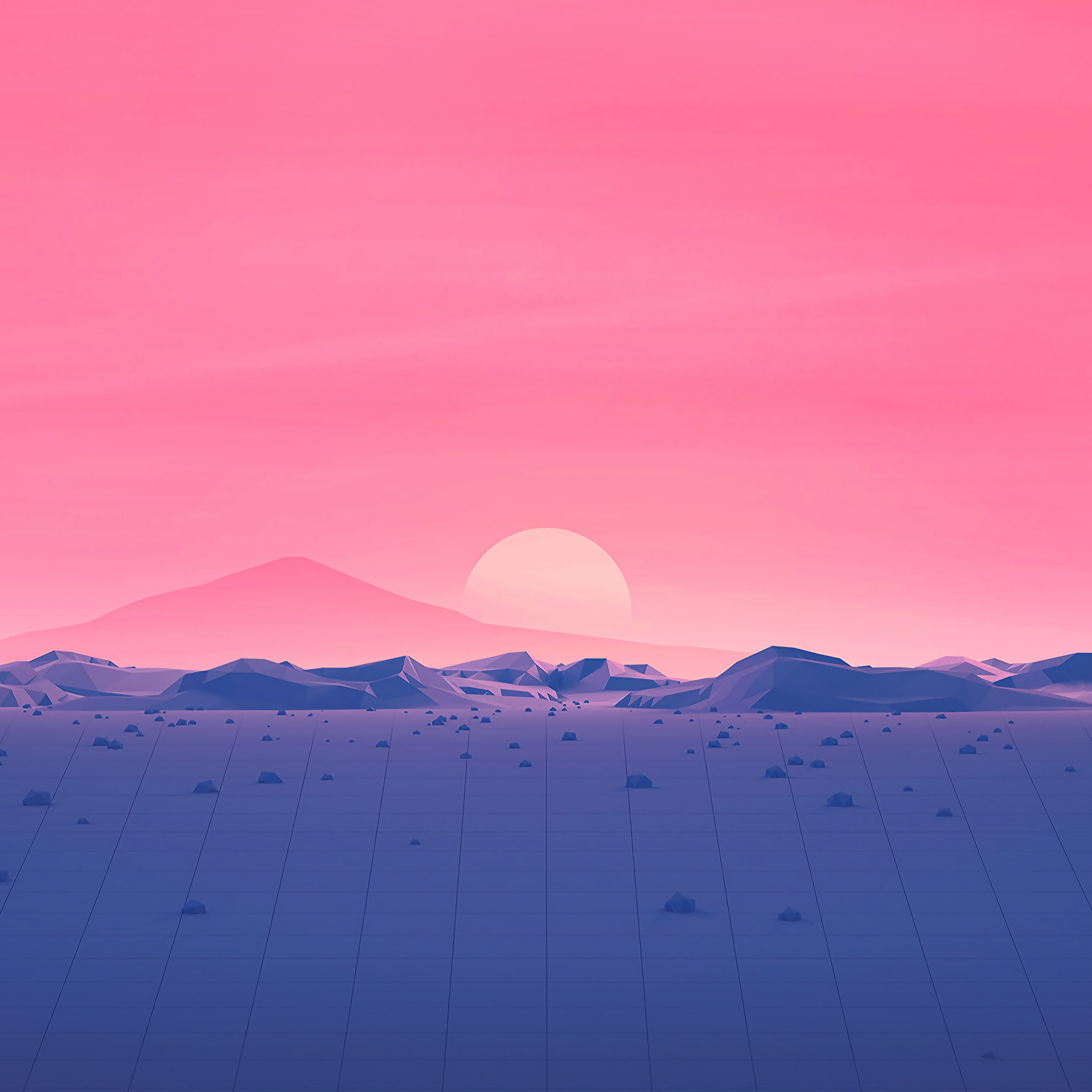 4k Resolution Wallpaper: 2048x2048 Hotizons Sunset Polygon Surface Mountains 4k