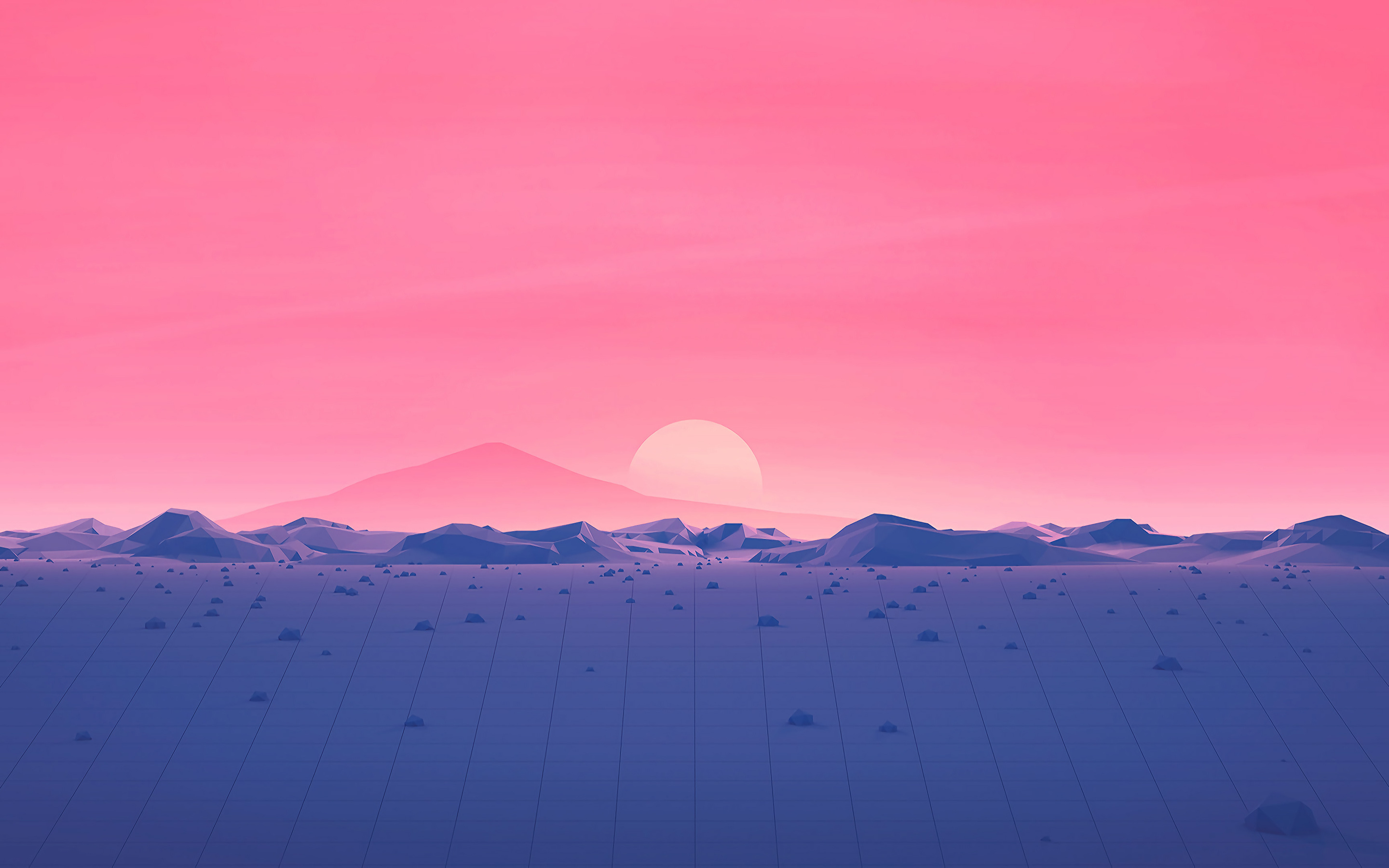 2880x1800 Hotizons Sunset Polygon Surface Mountains 4k Minimalism