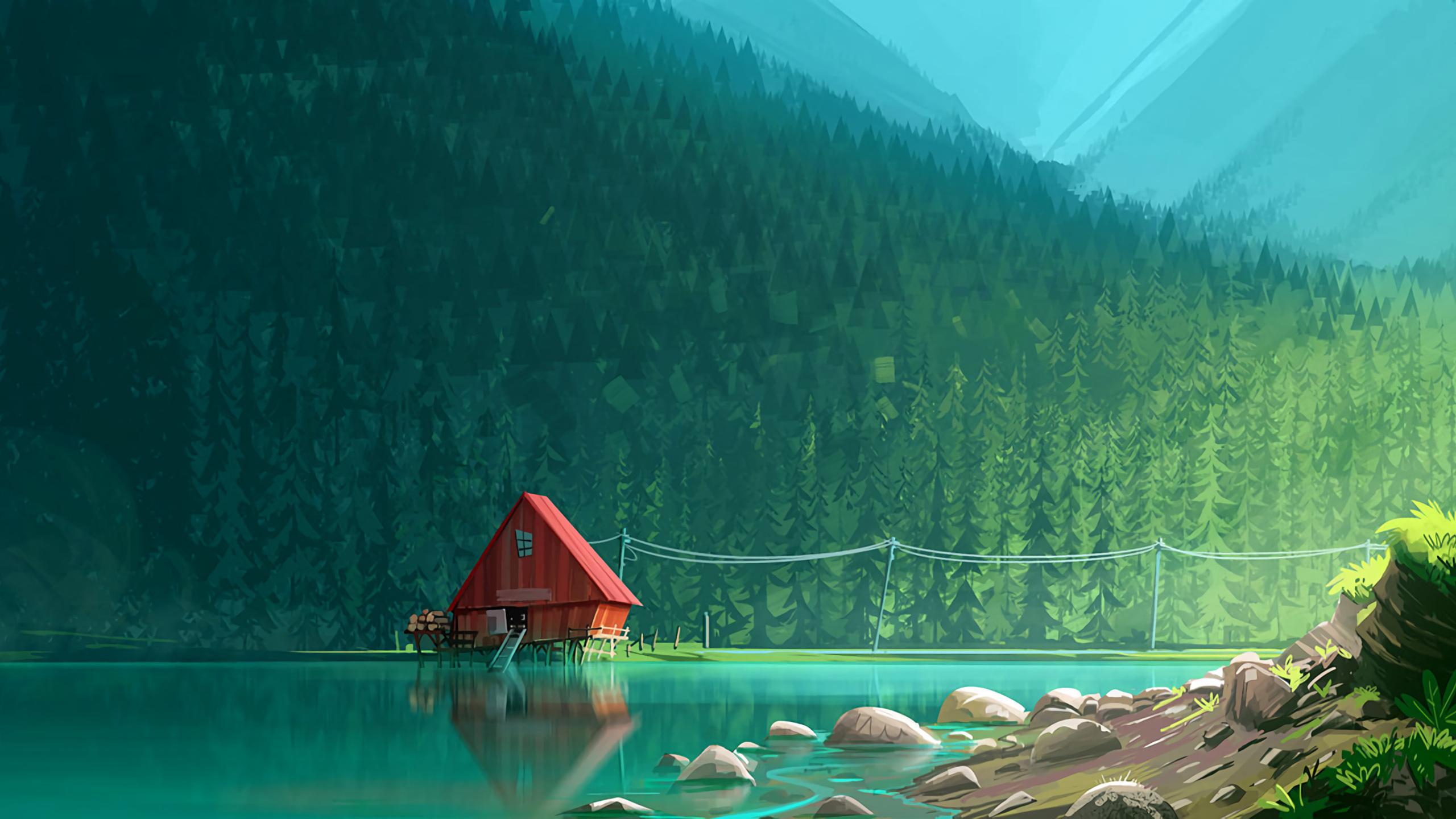 2560x1440 house in woods minimalism artwork 1440p resolution hd 4k