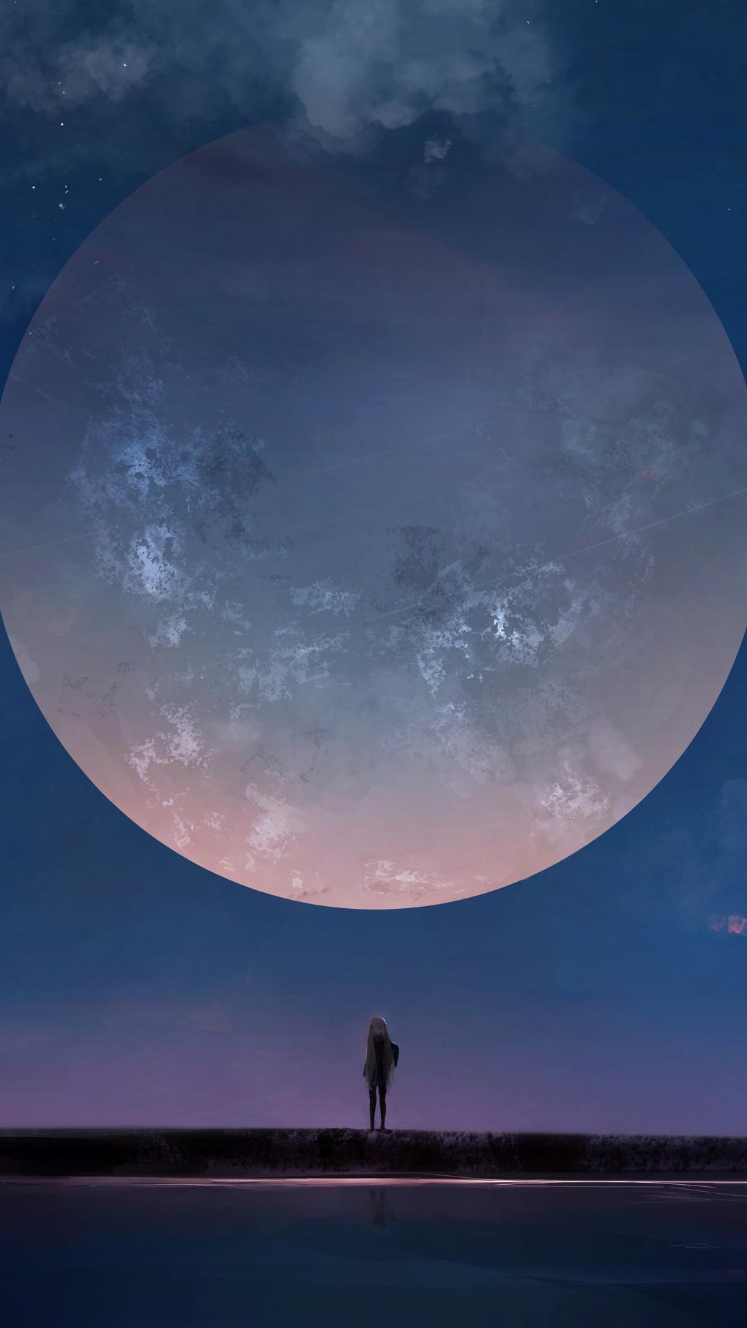 1080x1920 Huge Moon Anime Girl Night Sky Stars Iphone 7 6s 6