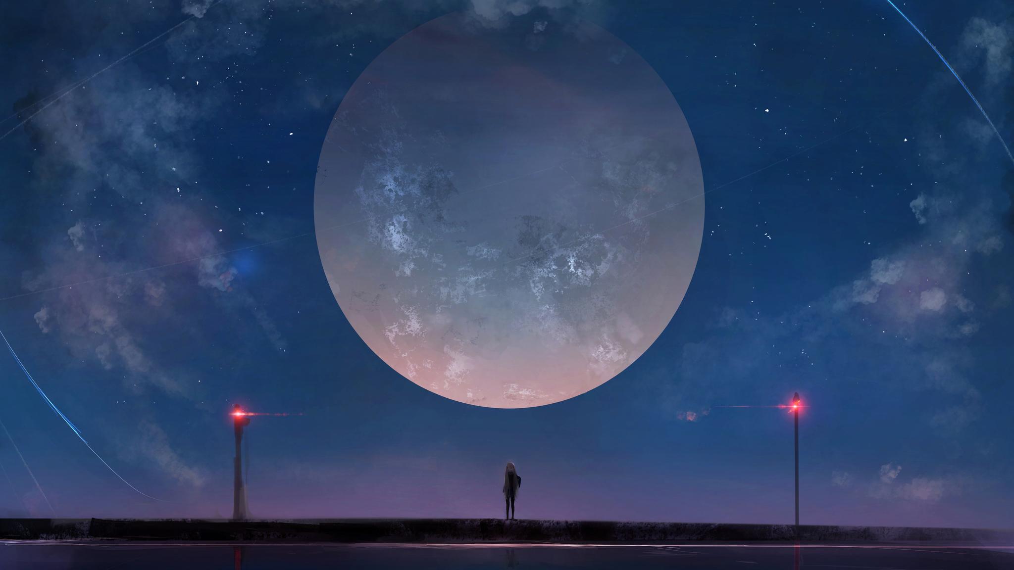 2048x1152 Huge Moon Anime Girl Night Sky Stars 2048x1152