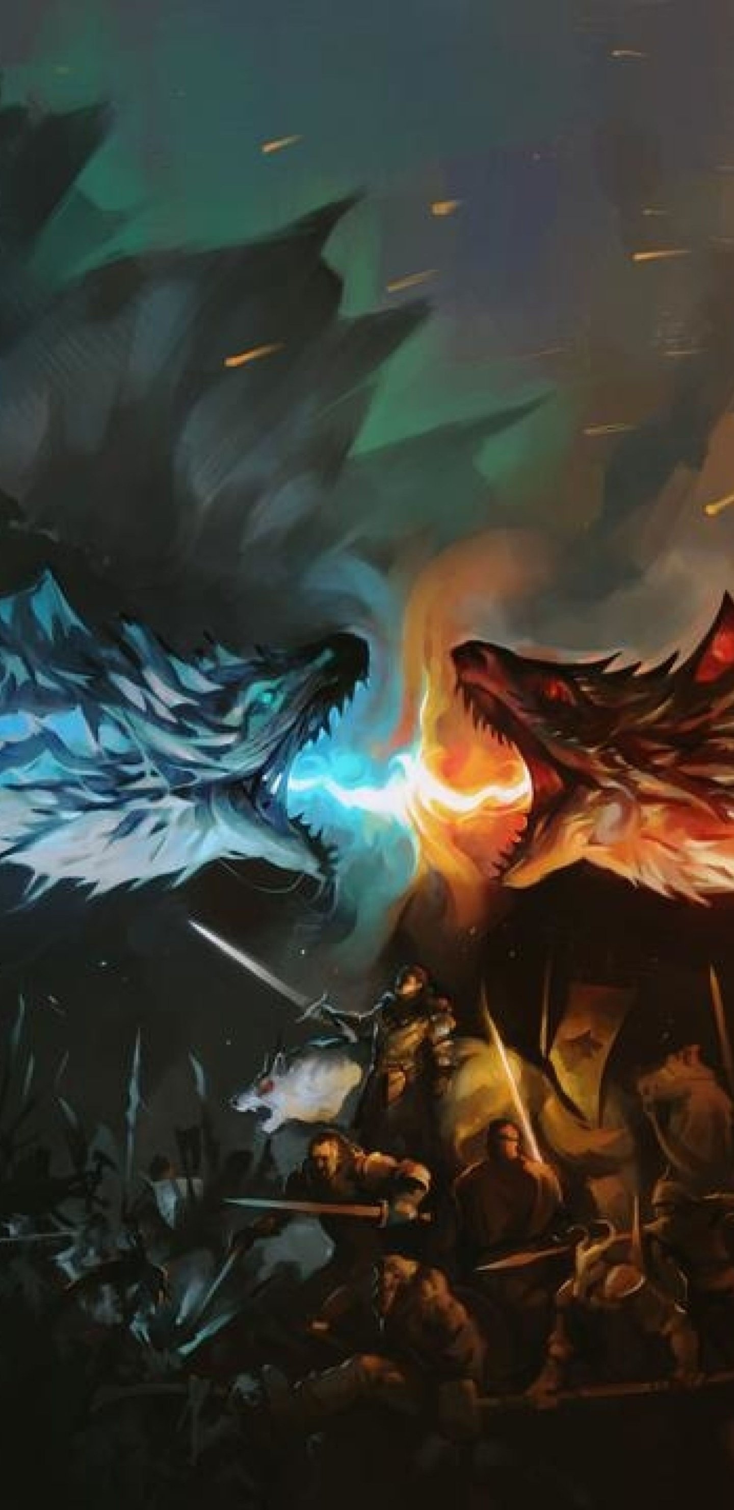 ice fire dragon game of thrones 8k yy