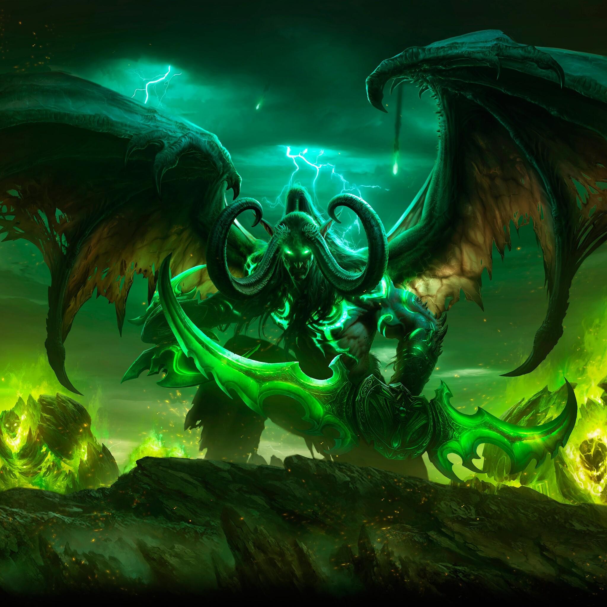2048x2048 Illidan Stormrag World Of Warcraft Legion 5k Ipad Air Hd