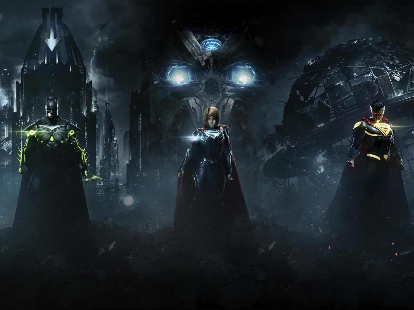 Injustice 2 Superman Hd Games 4k Wallpapers Images: 1400x1050 Injustice 2 Superman Supergirl Batman Combine 4k