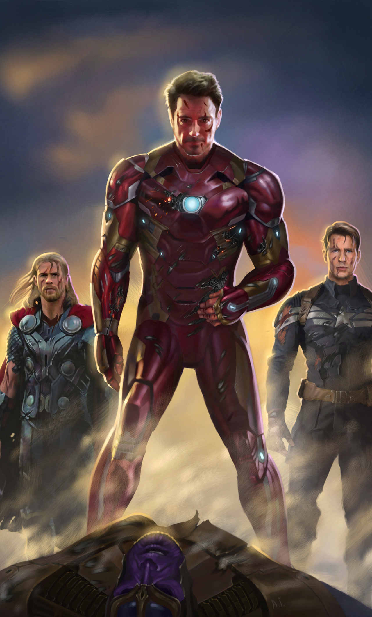 1280x2120 iron man captain america thor fan art iphone 6 - Fan wallpaper download ...