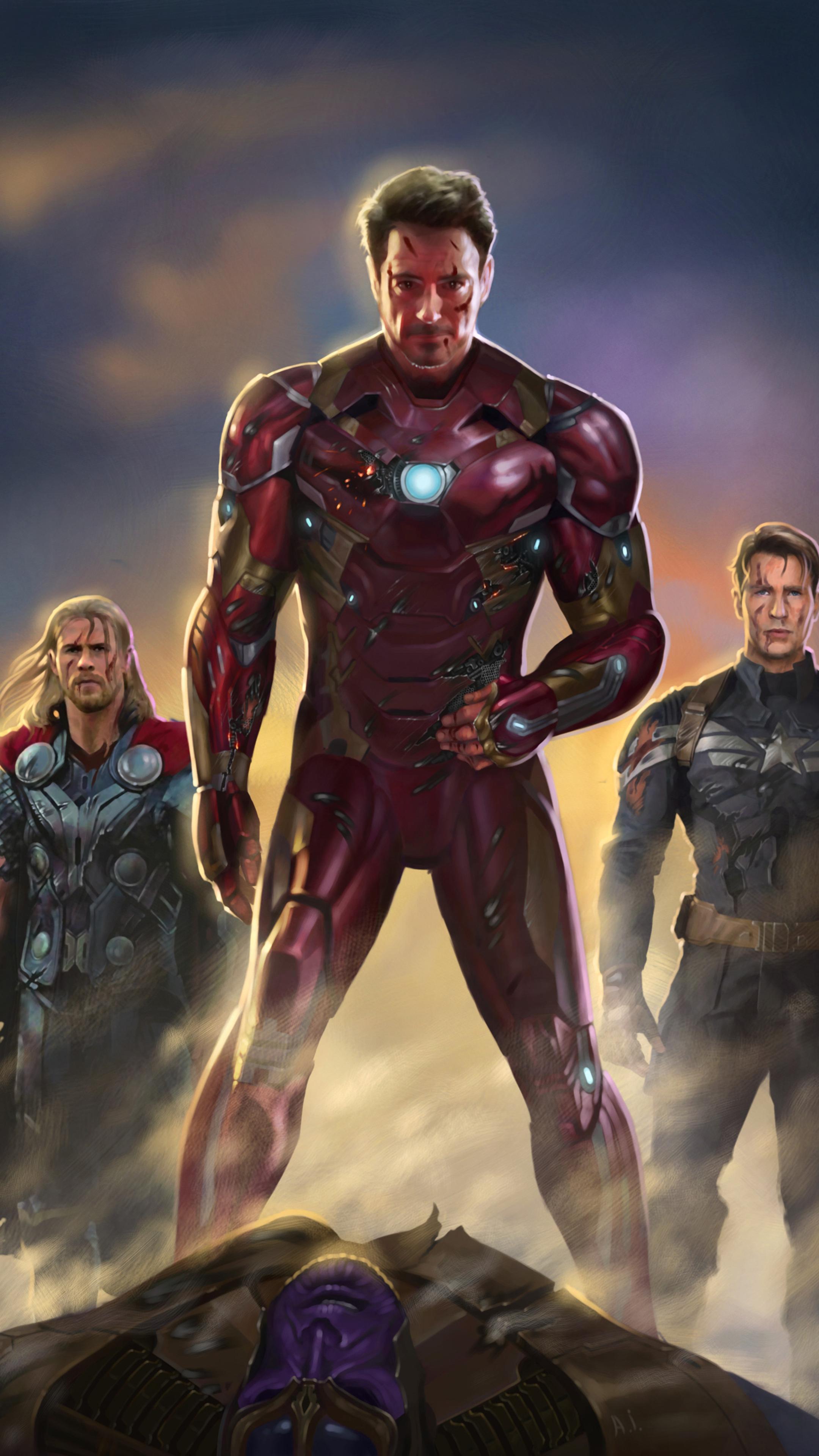 2160x3840 iron man captain america thor fan art sony xperia x xz z5