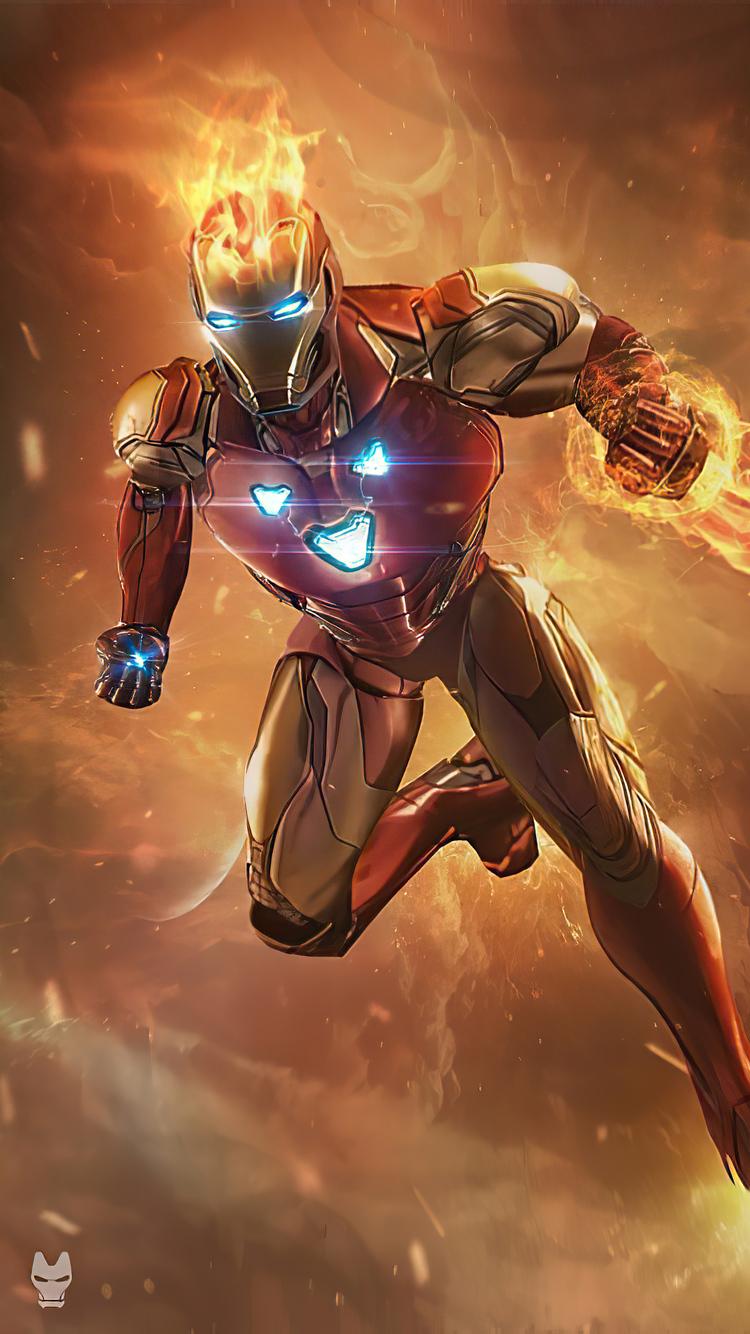 750x1334 Iron Man Fire iPhone 6, iPhone 6S, iPhone 7 HD 4k ...