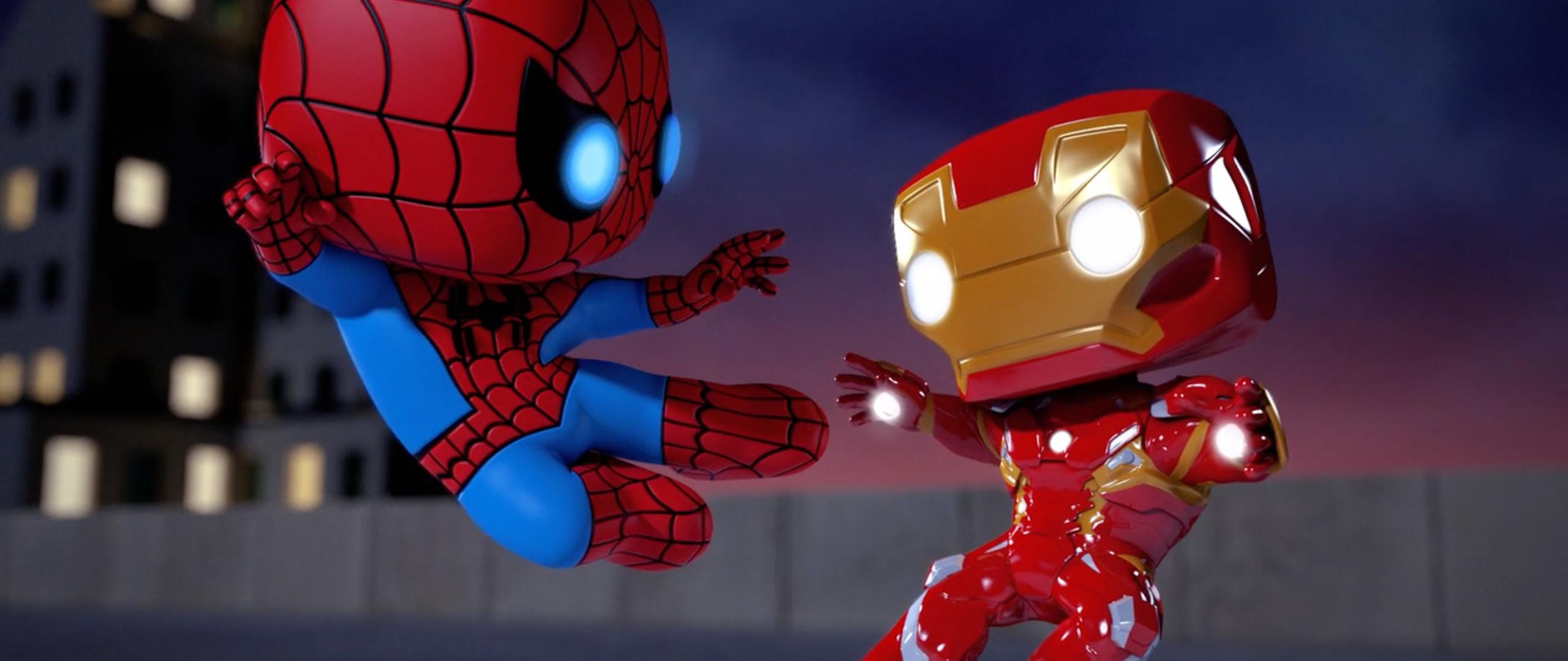 2560x1080 iron man vs spiderman spellbound animated movie - Iron man cartoon download ...