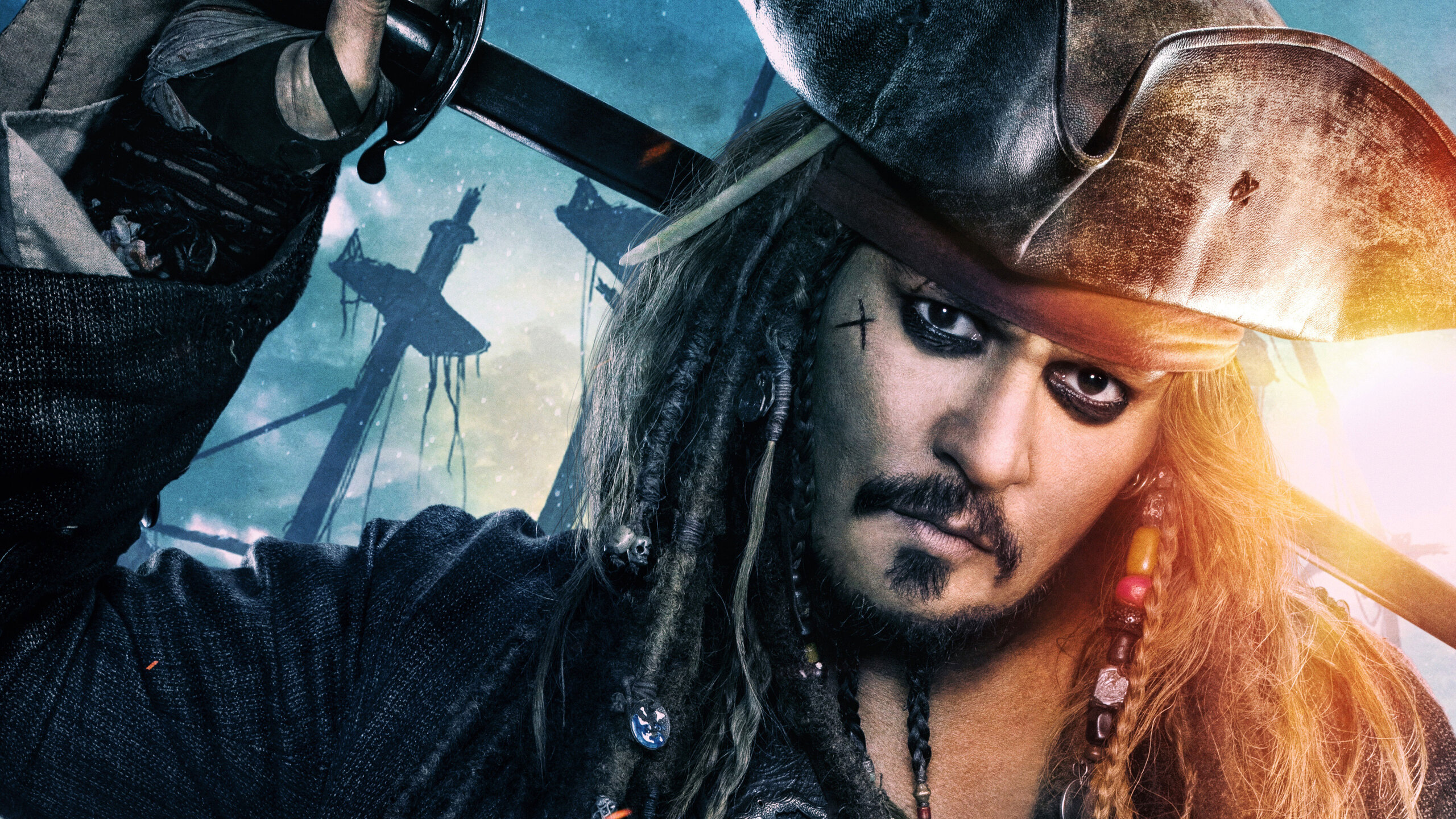 2560x1440 jack sparrow in pirates of the caribbean dead men tell no