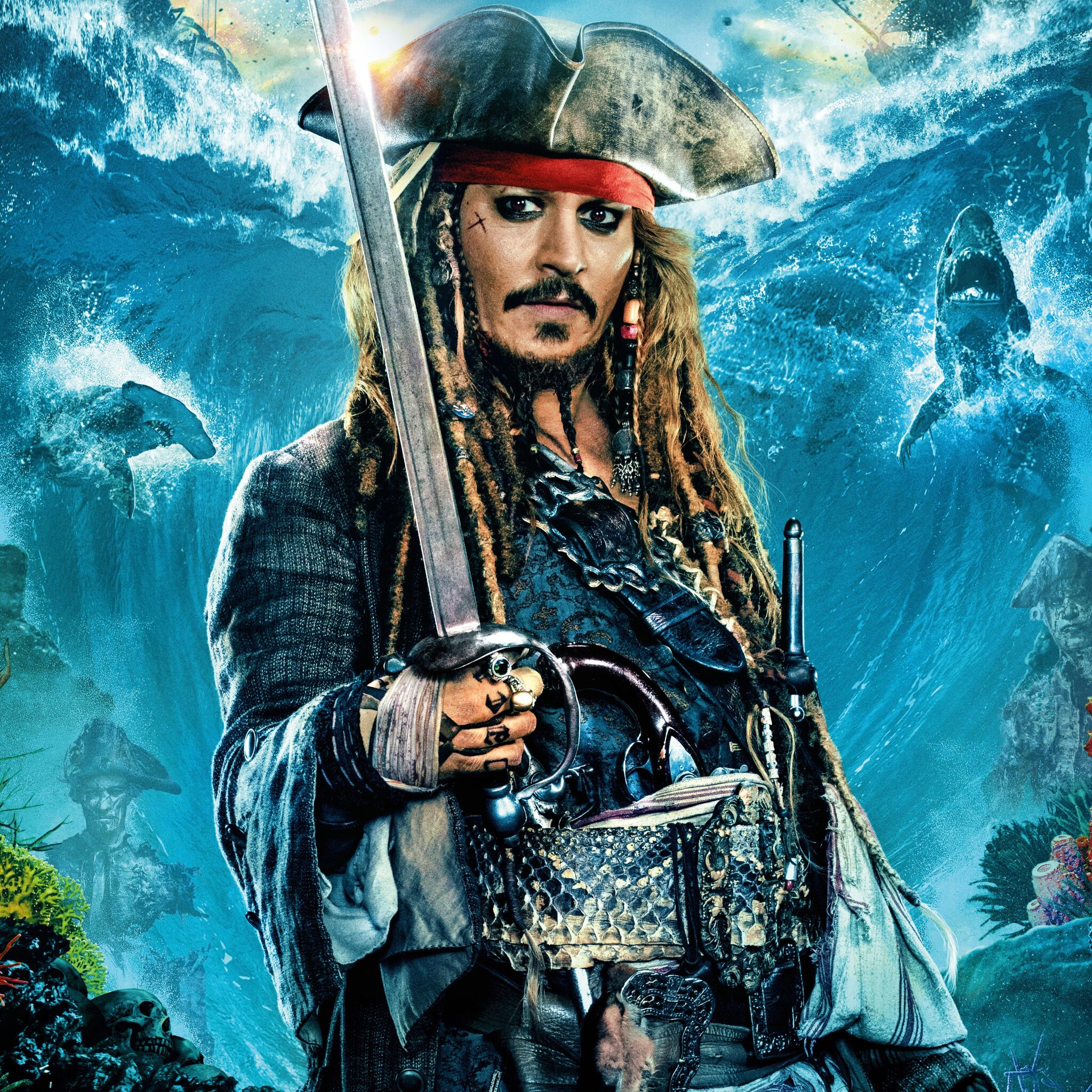 2048x2048 jack sparrow in pirates of the caribbean dead men tell no tales ipad air hd 4k - Pirates of the caribbean images hd ...