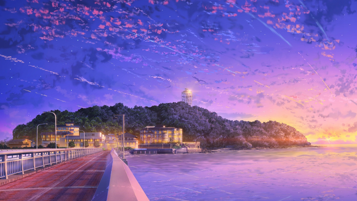 Download 1366x768 Anime Landscape Sunset Red Sky Anime Wallpaper Hd Anime Scenery Wallpaper 1366x768