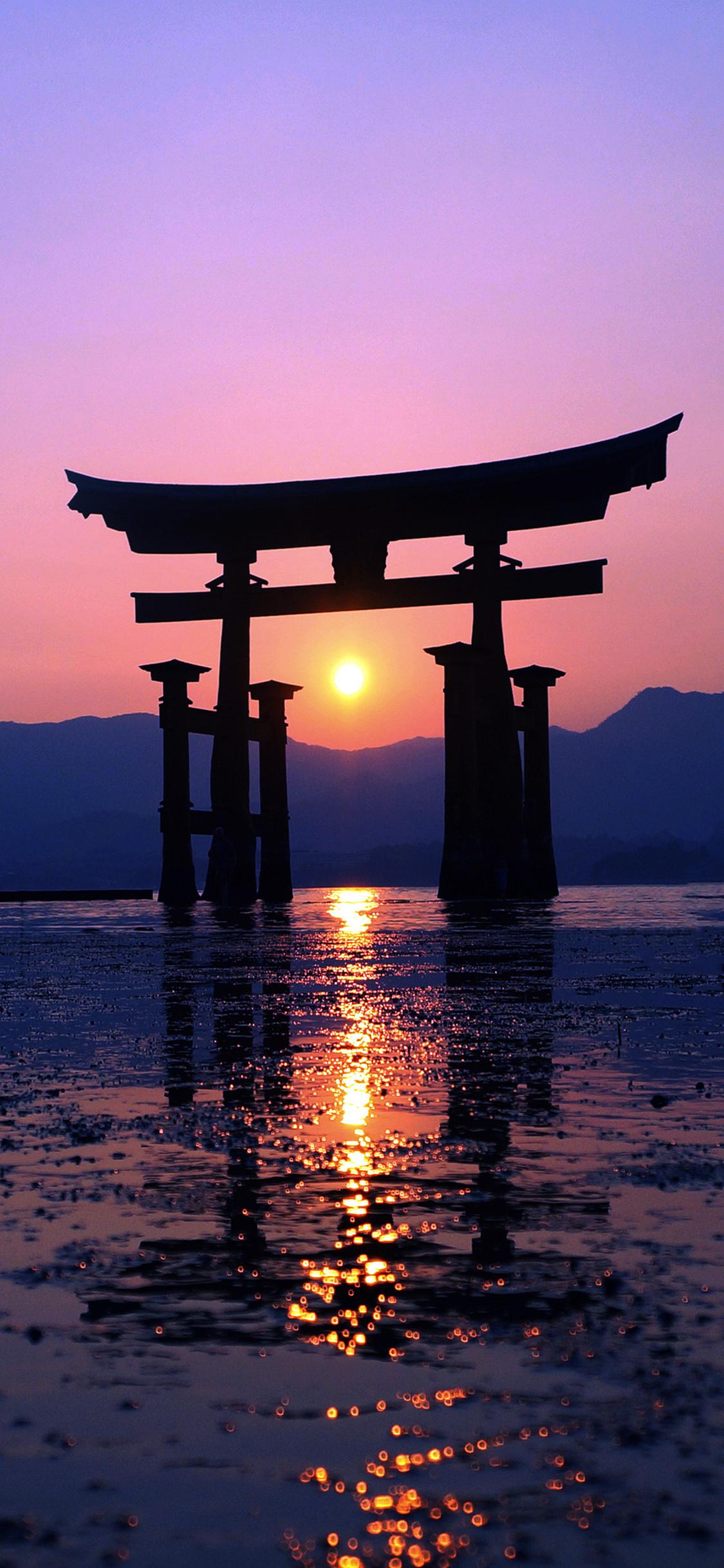 1125x2436 Japan Sunset Purple Evening 4k Iphone Xs Iphone 10