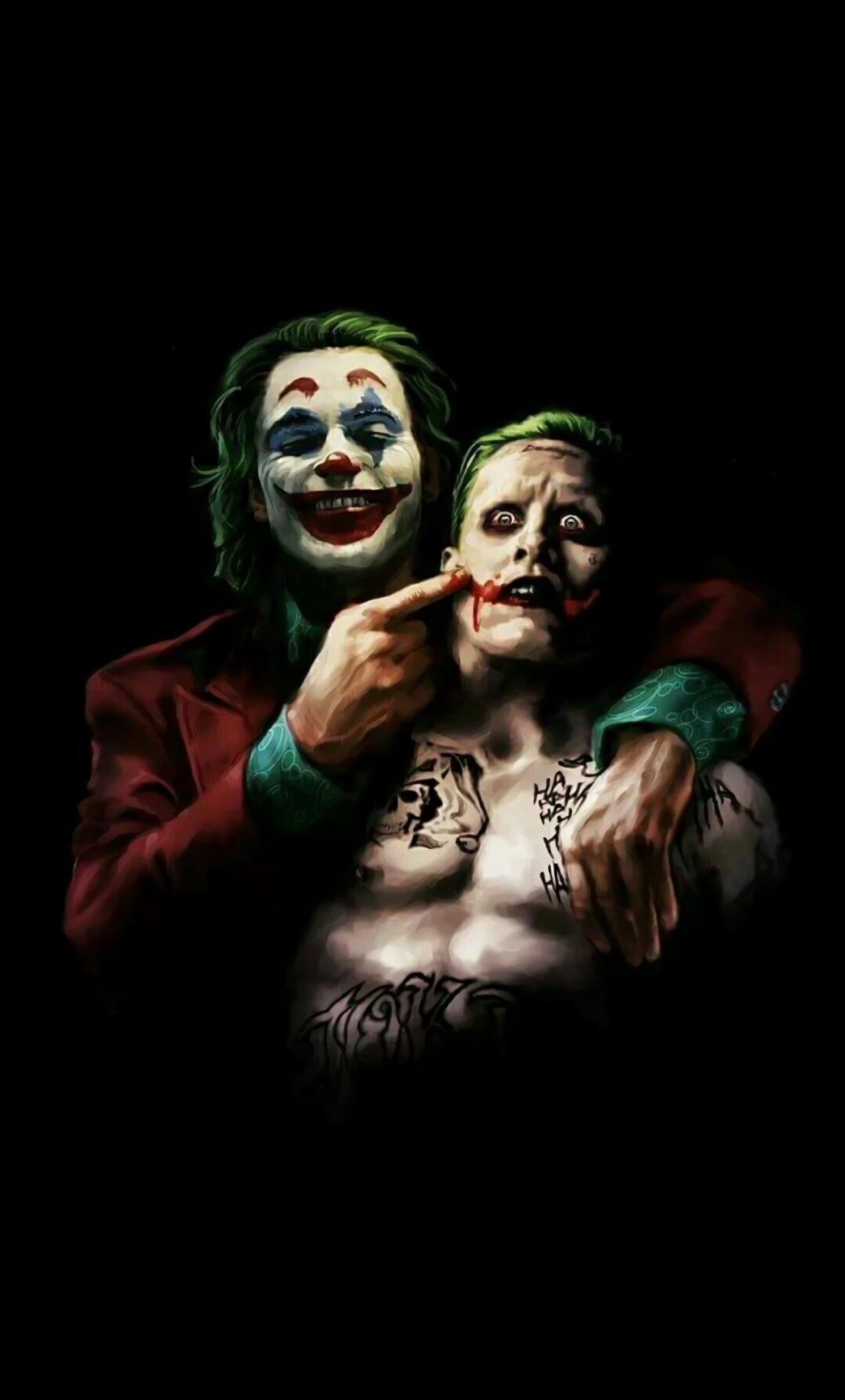 1280x2120 Joaquin Phoenix And Jared Leto As Joker 4k Iphone