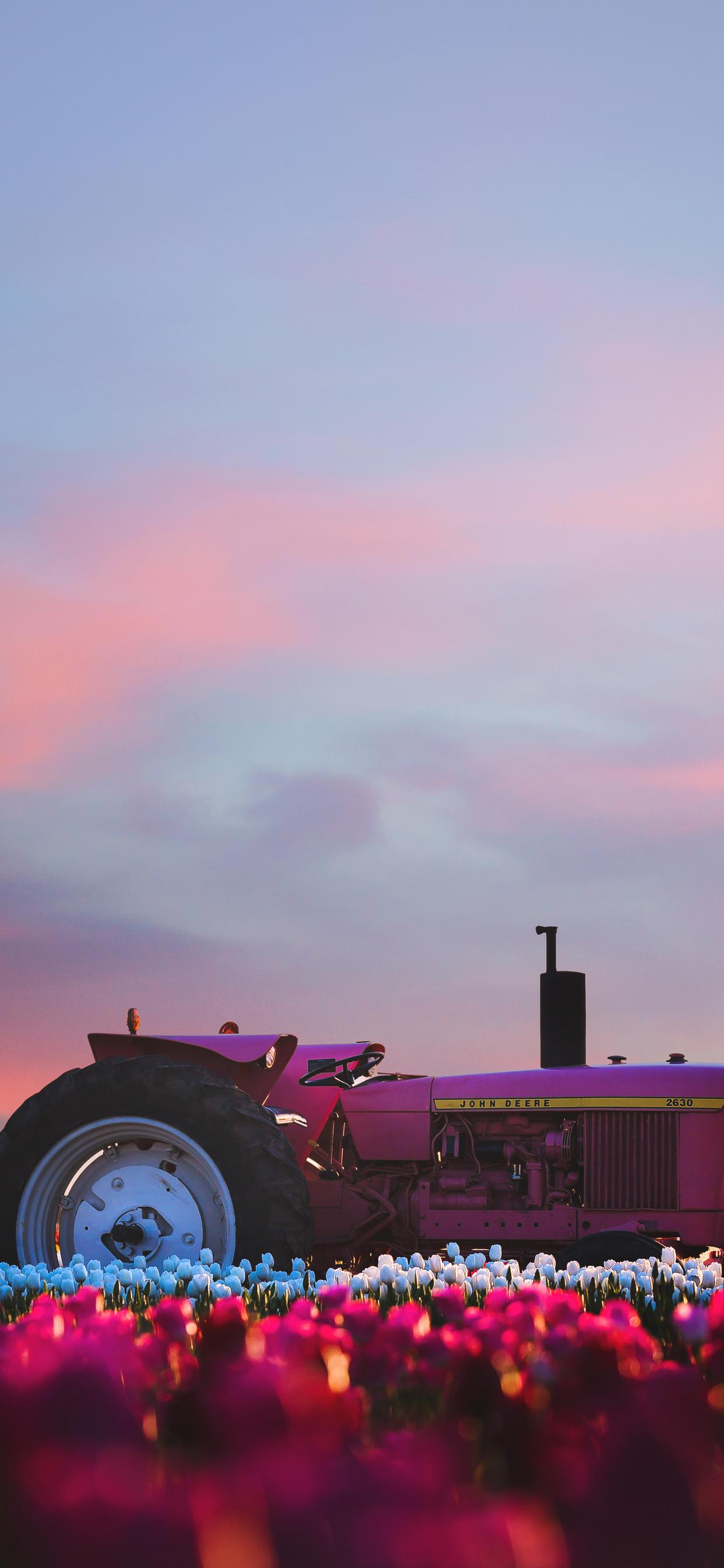 1242x2688 John Deere Tractor In Flower Farm 4k Iphone Xs Max Hd 4k