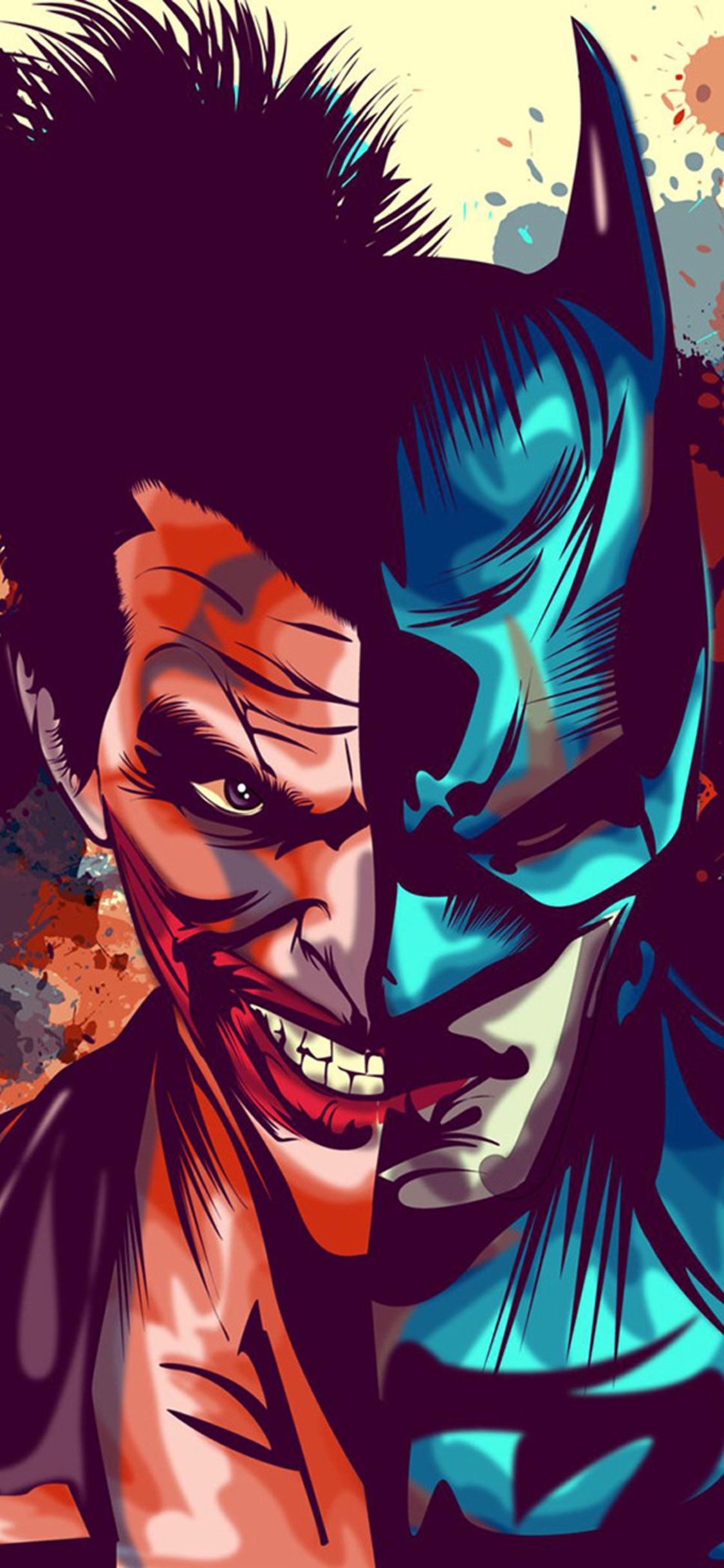 1125x2436 Joker And Batman Faces Artwork Iphone Xs Iphone 10 Iphone