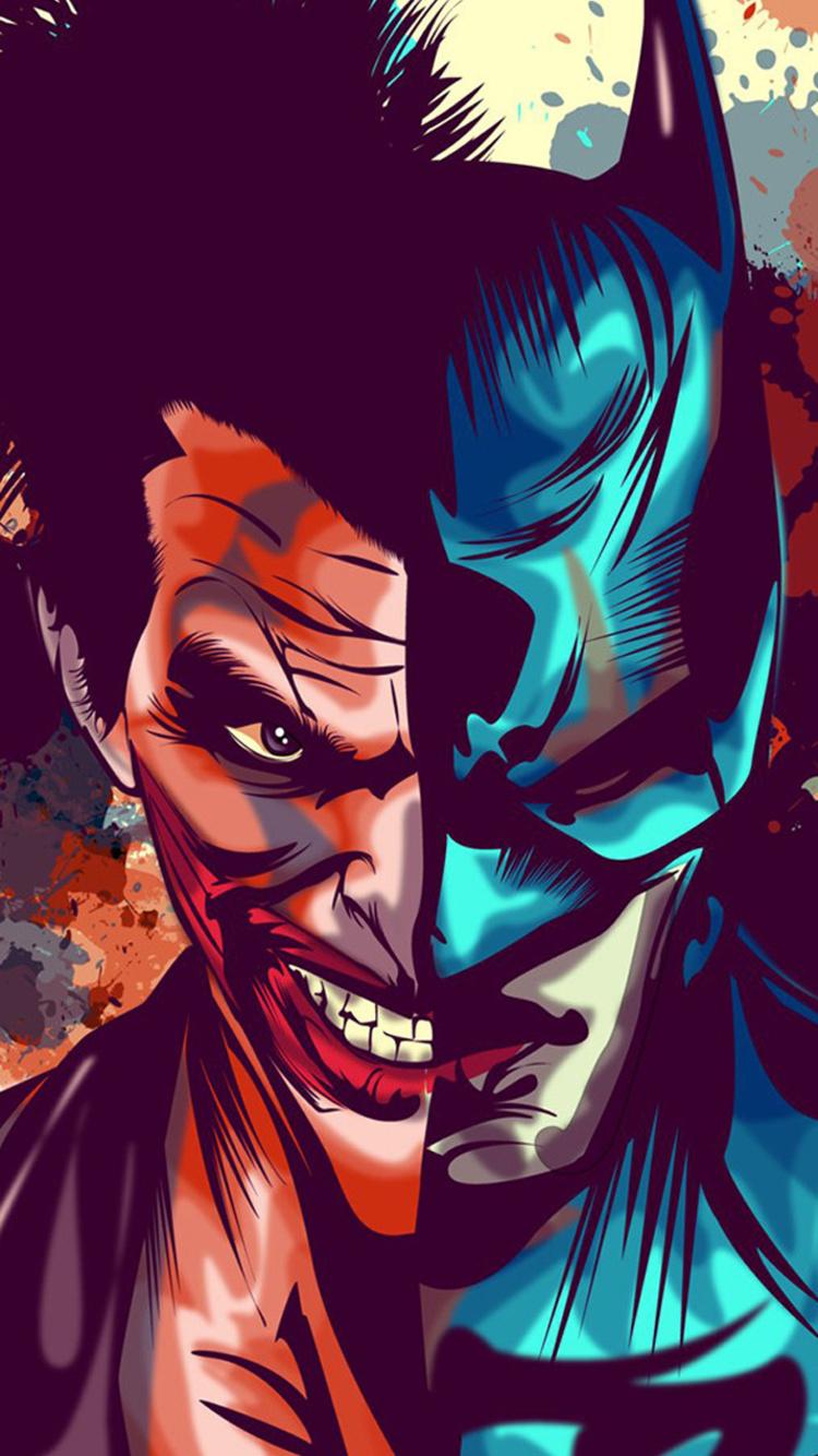 750x1334 Joker And Batman Faces Artwork Iphone 6 Iphone 6s