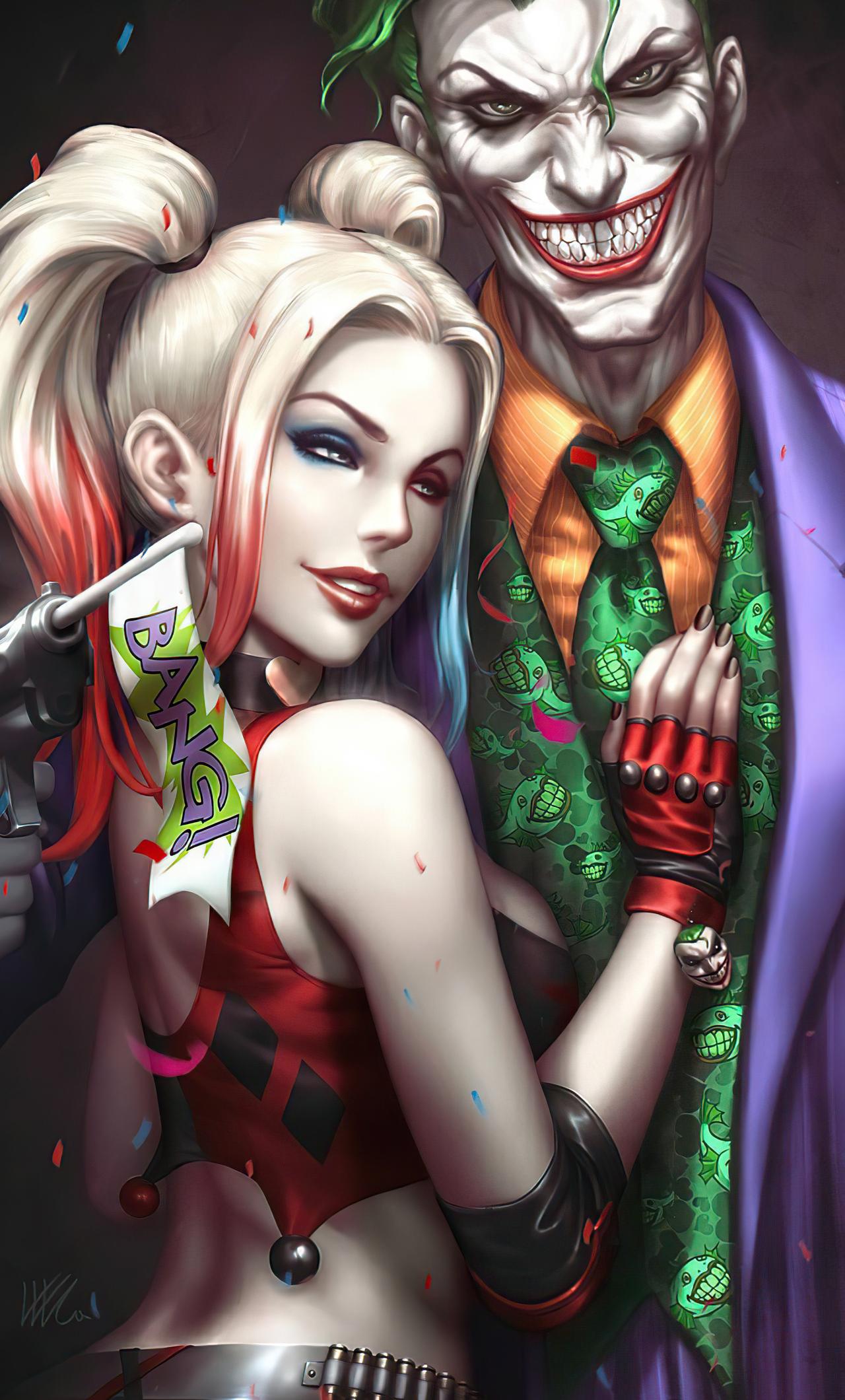 1280x2120 Joker And Harley Quinn Love 4k iPhone 6+ HD 4k ...