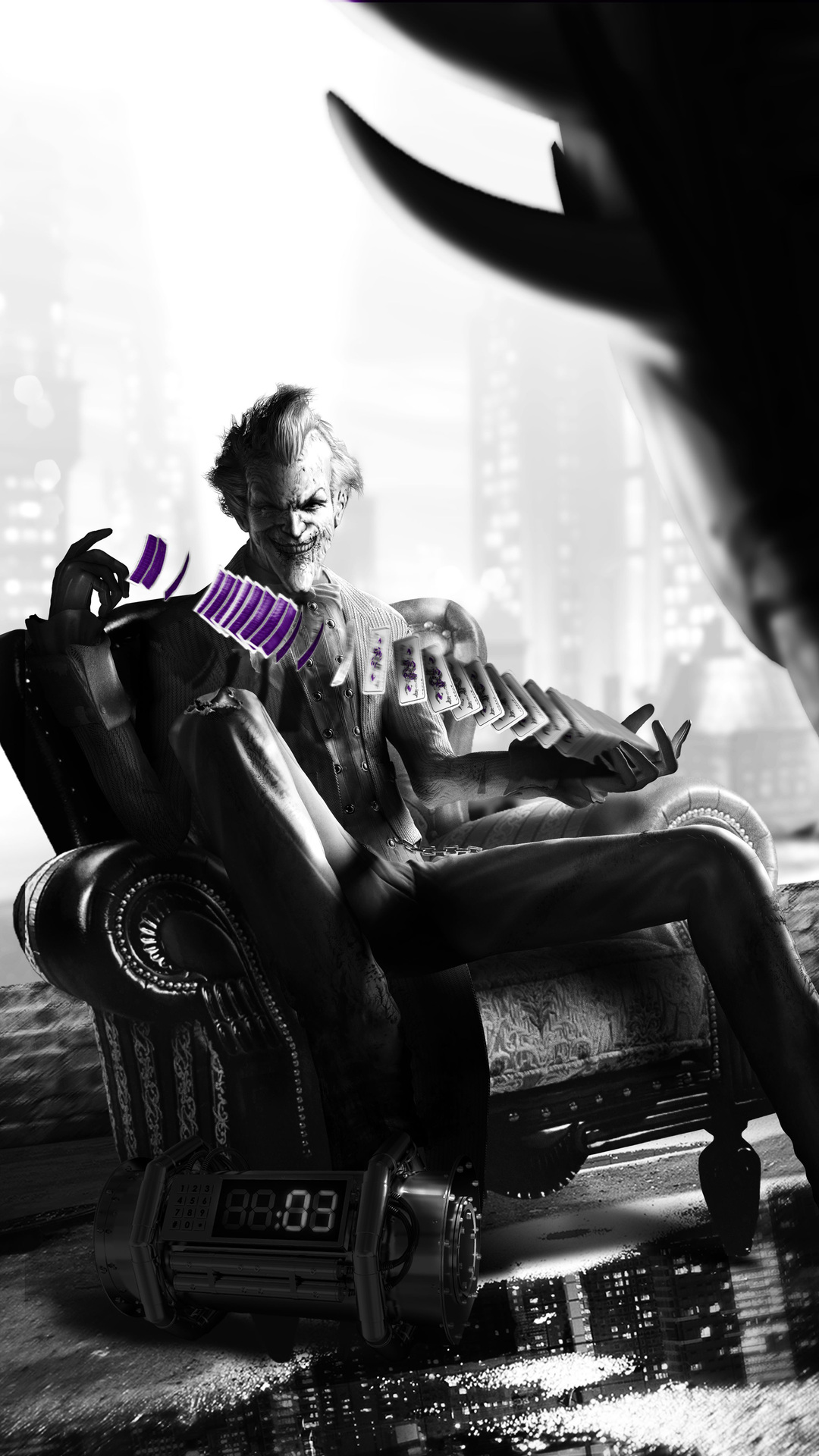 1080x1920 Joker Playing With Cards Monochrome Iphone 76s6