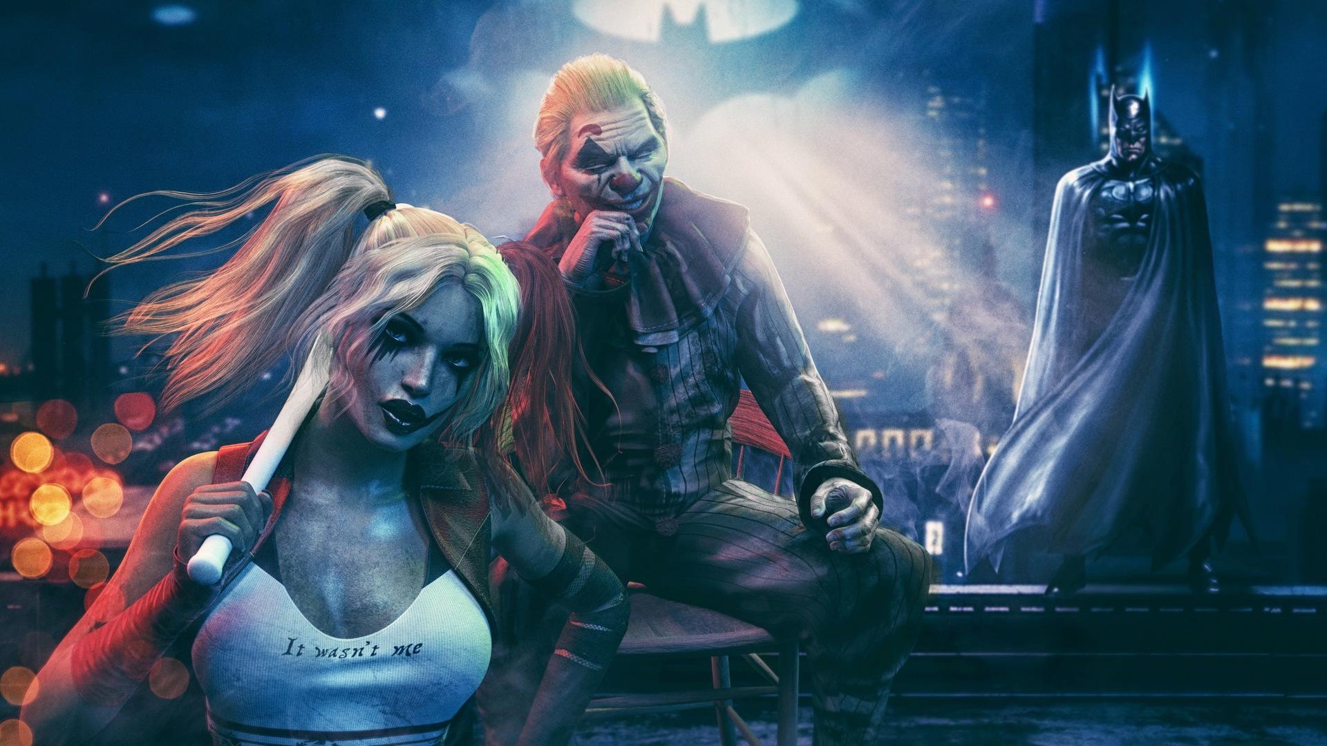 1920x1080 Joker With Harley Quinn And Batman Laptop Full ...