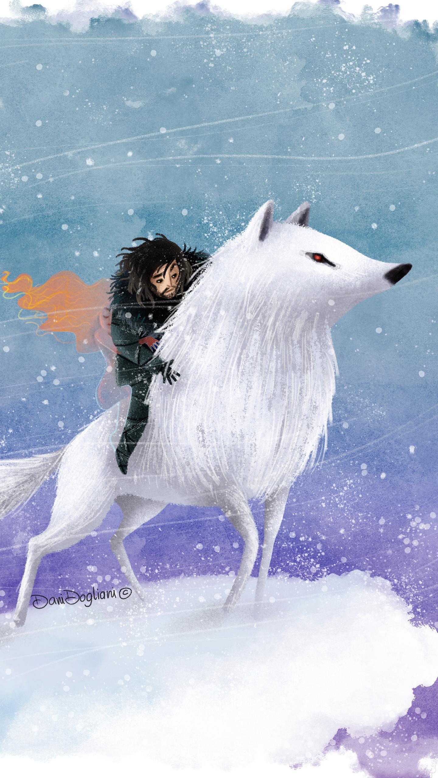 jon snow wolf digital art 3h
