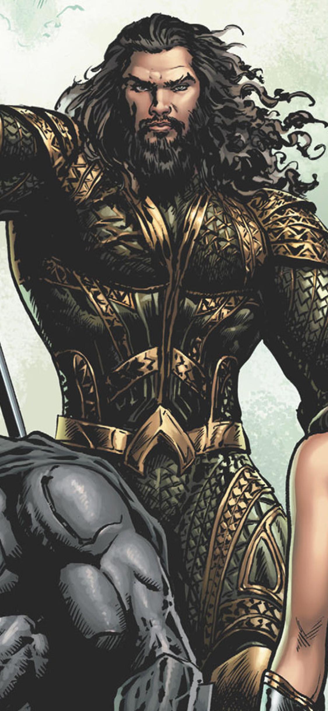 1125x2436 Justice League Aquaman Batman Wonder Woman Artwork Iphone