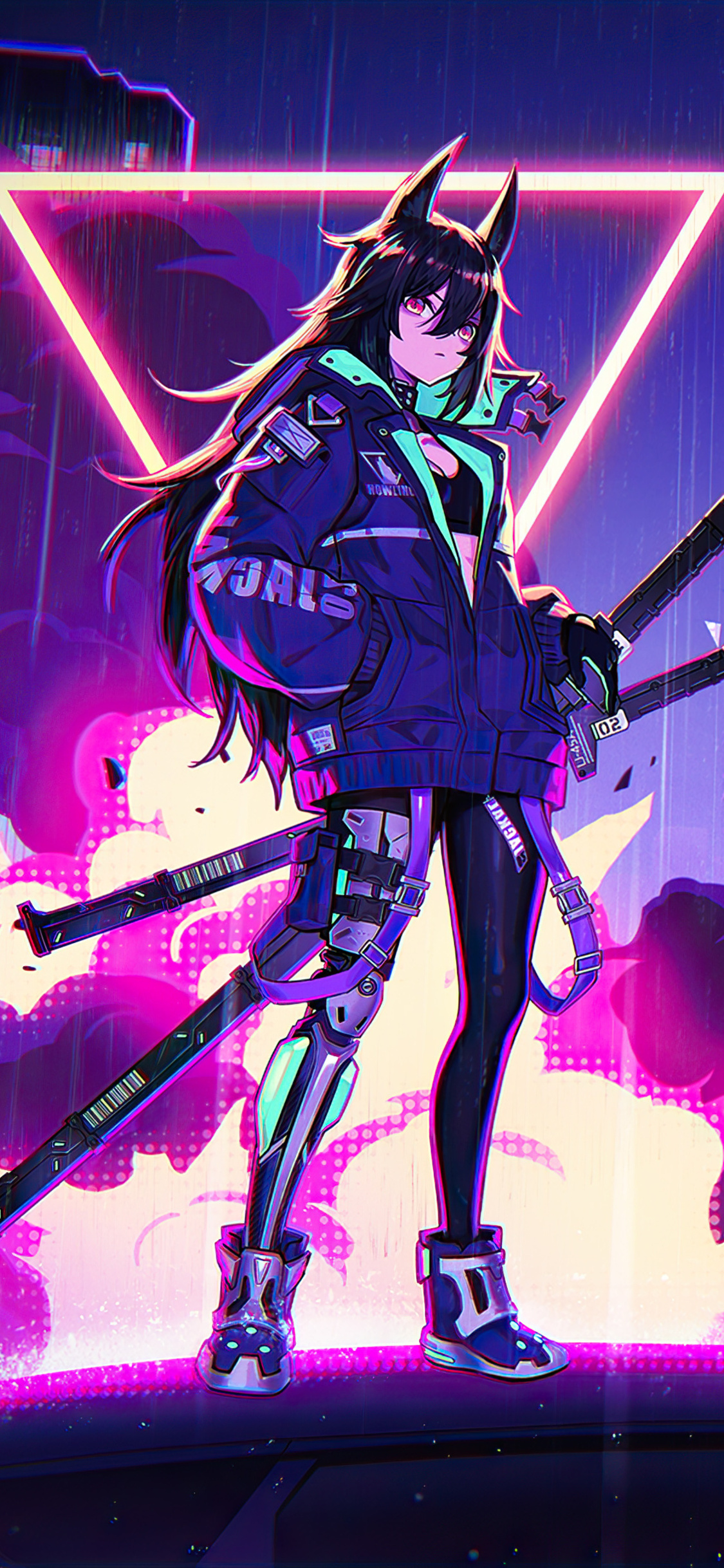 1125x2436 Katana Anime Girl Neon 4k Iphone Xs Iphone 10 Iphone X Hd 4k Wallpapers Images Backgrounds Photos And Pictures