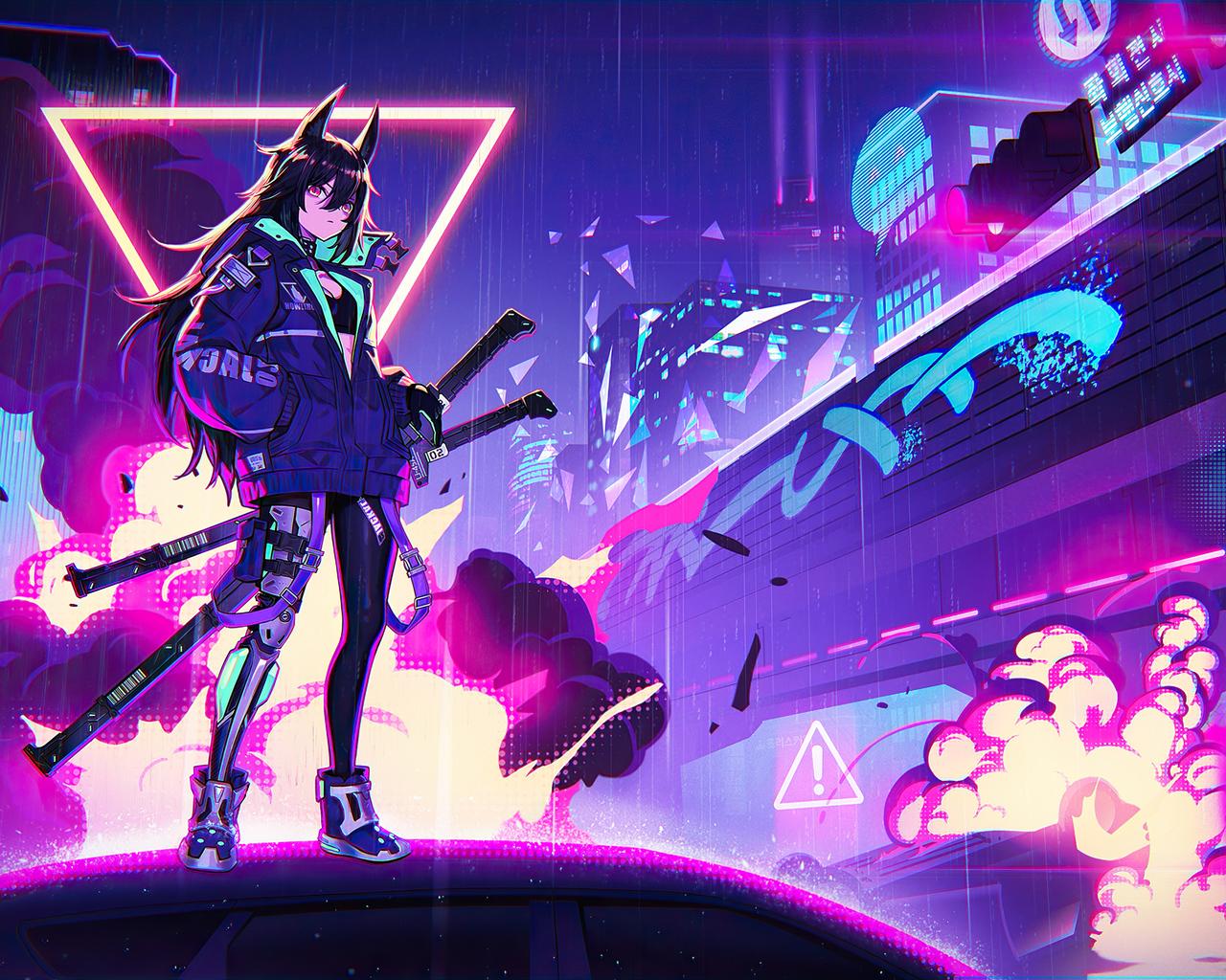 Anime Girl Wallpaper Neon Anime Wallpaper Hd