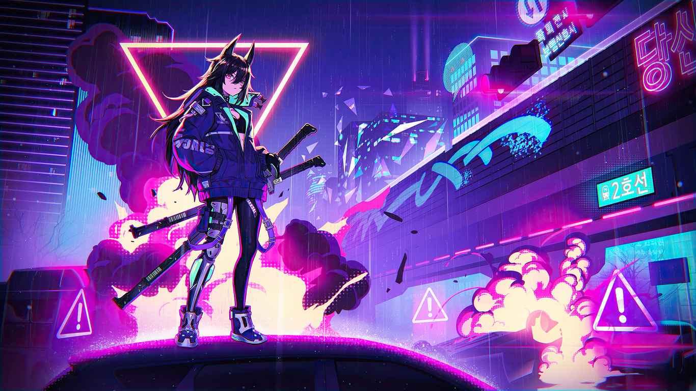 1366x768 Katana Anime Girl Neon 4k 1366x768 Resolution HD ...