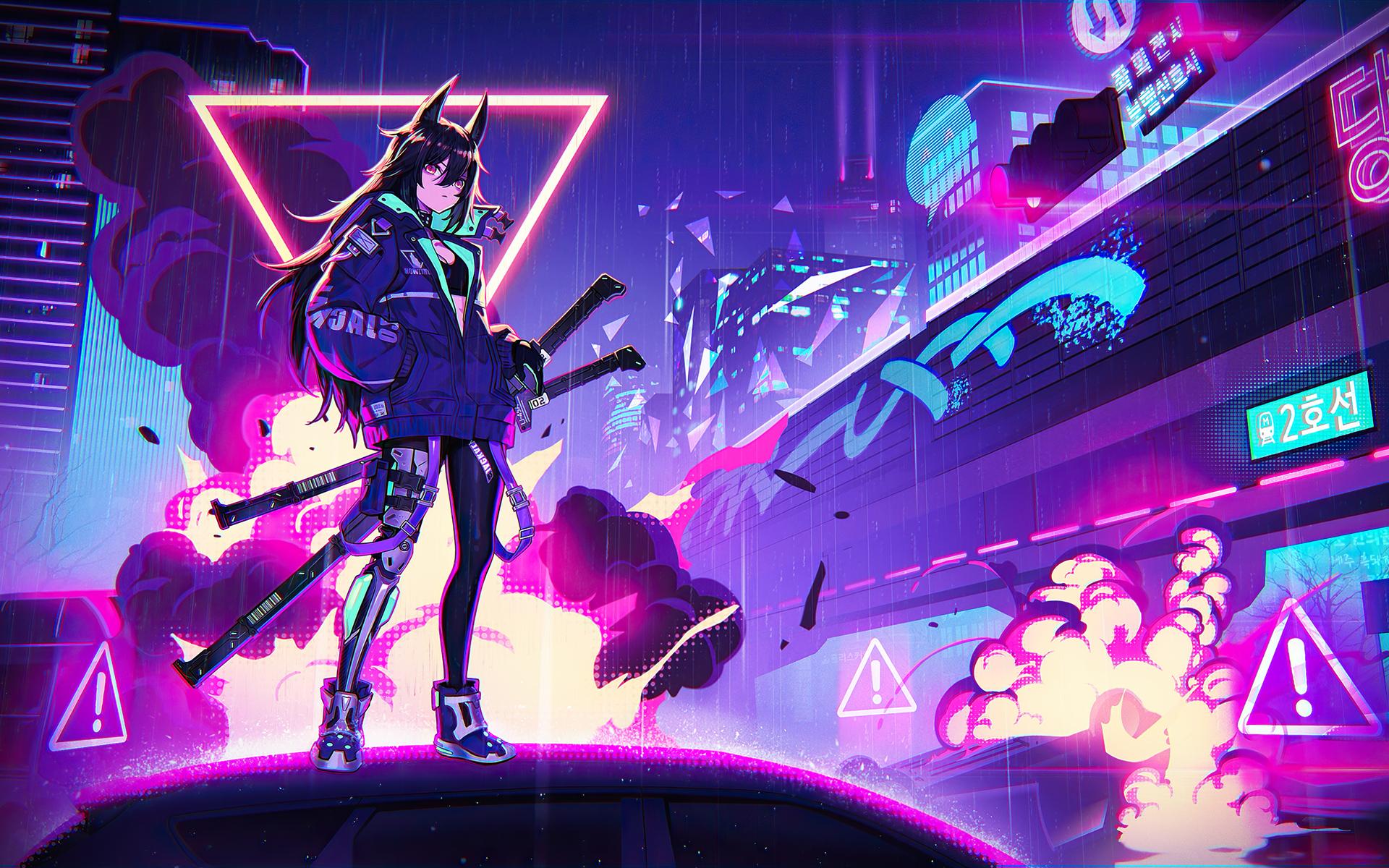 1920x1200 Katana Anime Girl Neon 4k 1080P Resolution HD 4k ...