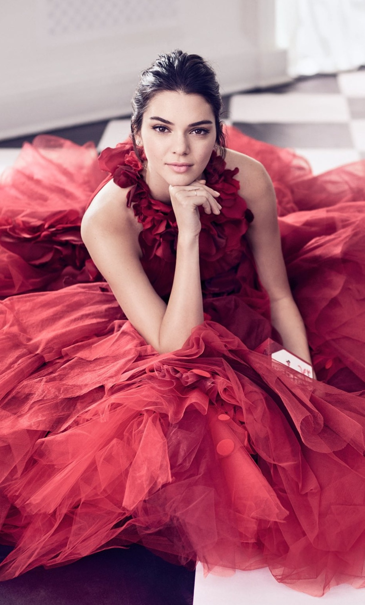 88574bf36e3 1280x2120 Kendall Jenner In Nice Red Dress iPhone 6+ HD 4k ...