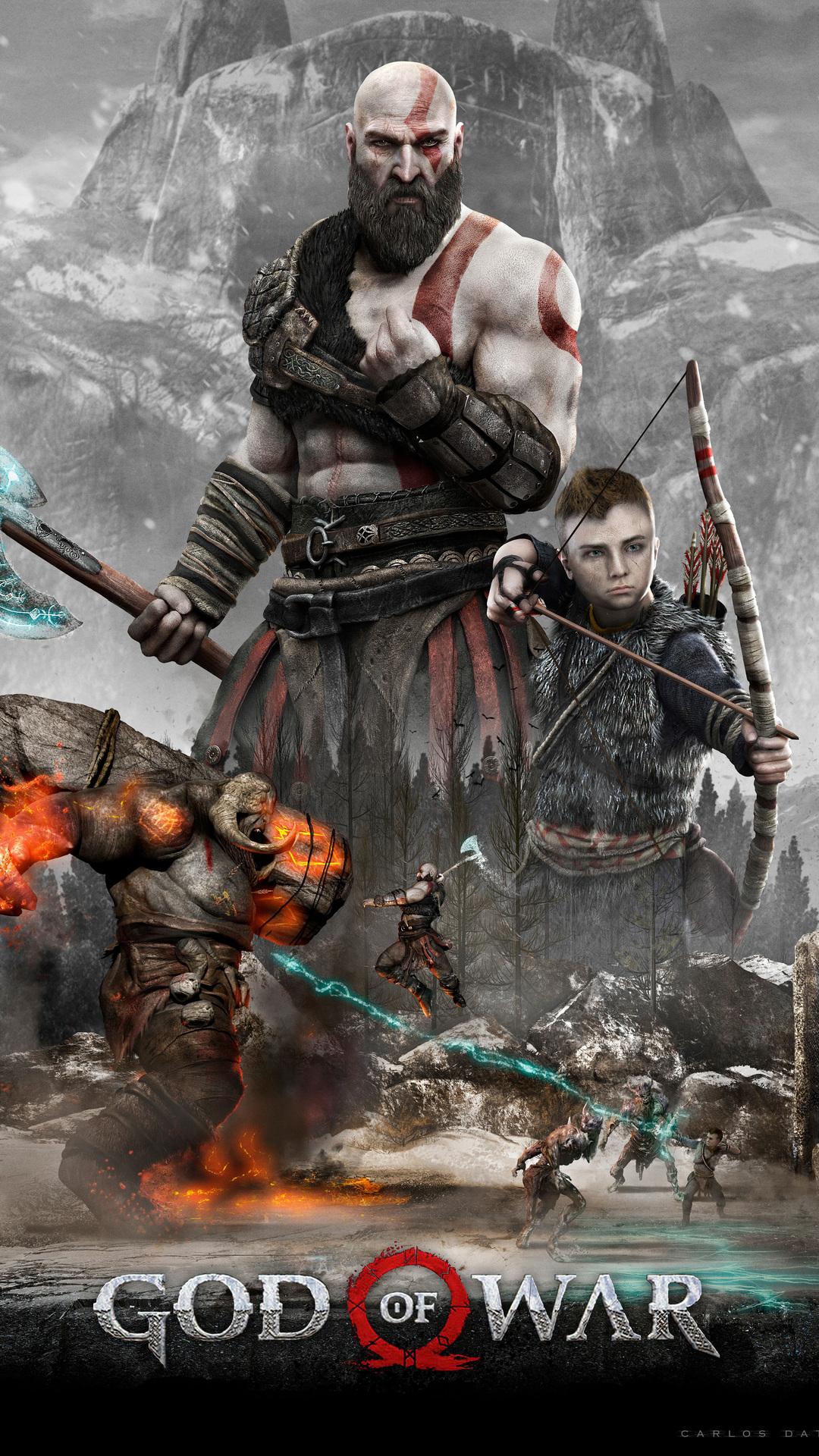 1080x1920 kratos and atreus god of war 4 4k 2018 iphone 7 6s 6 plus pixel xl one plus 3 3t 5 - Wallpaper kratos ...