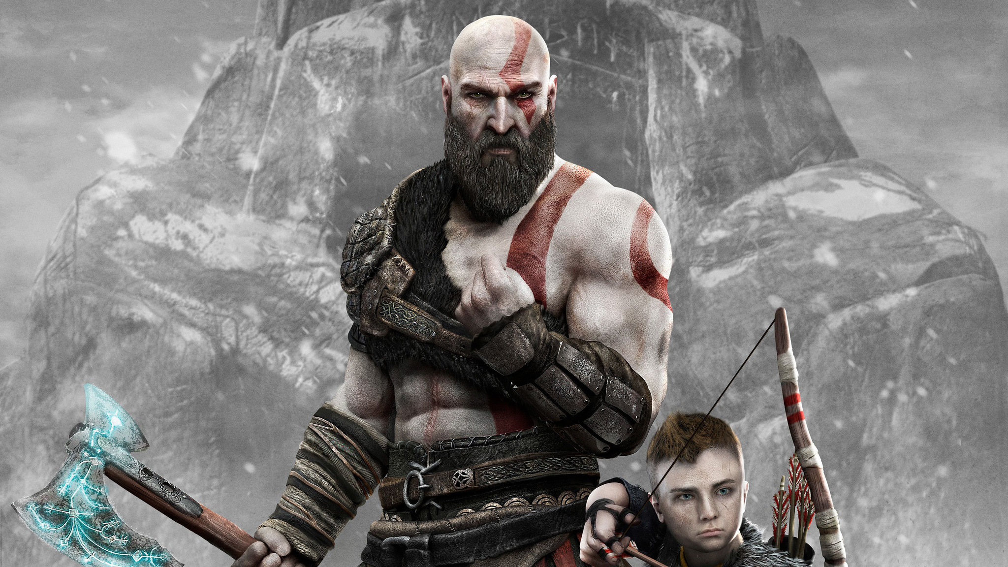 2048x1152 Kratos And Atreus God Of War 4 4k 2018 2048x1152