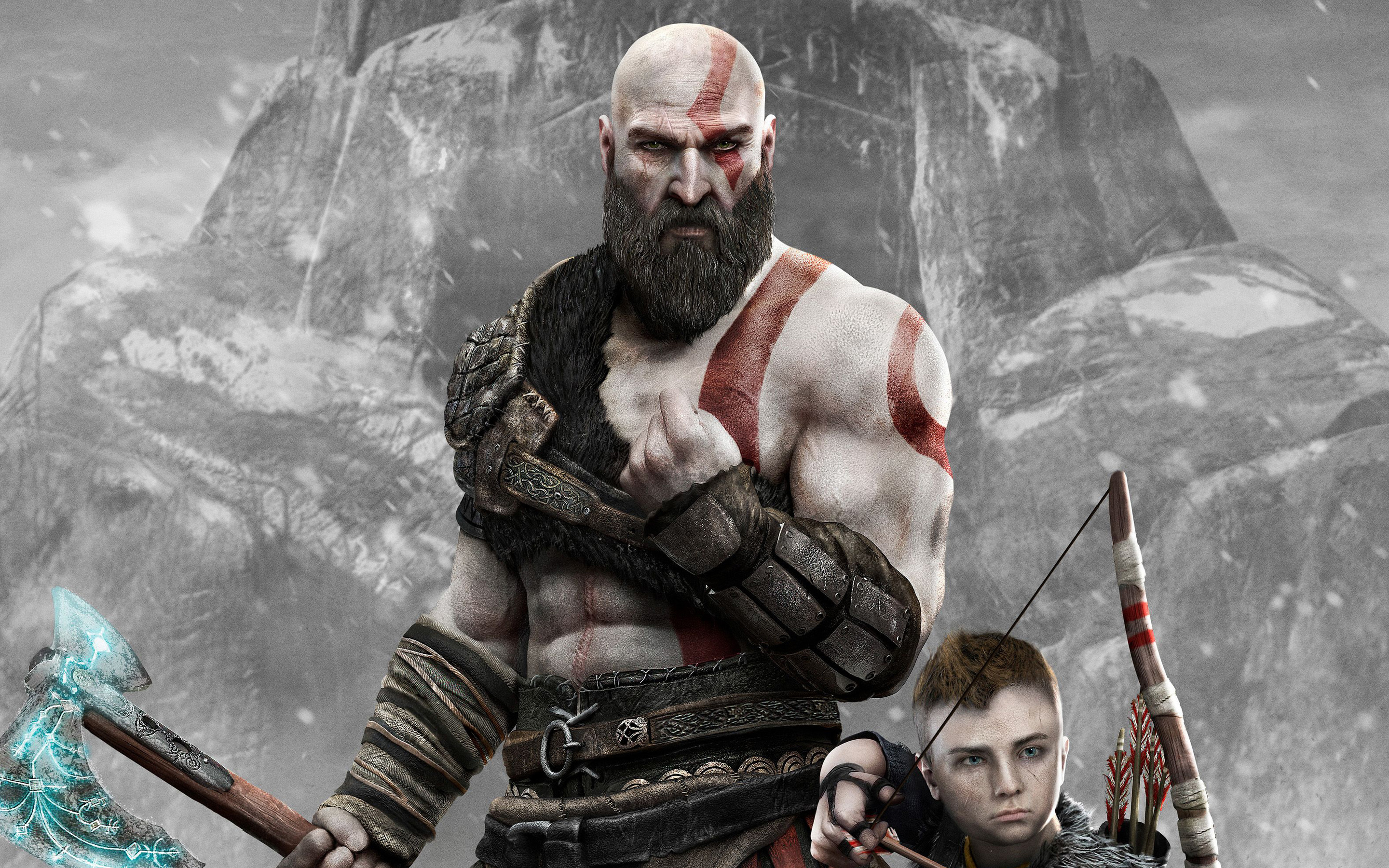 2880x1800 kratos and atreus god of war 4 4k 2018 macbook pro retina
