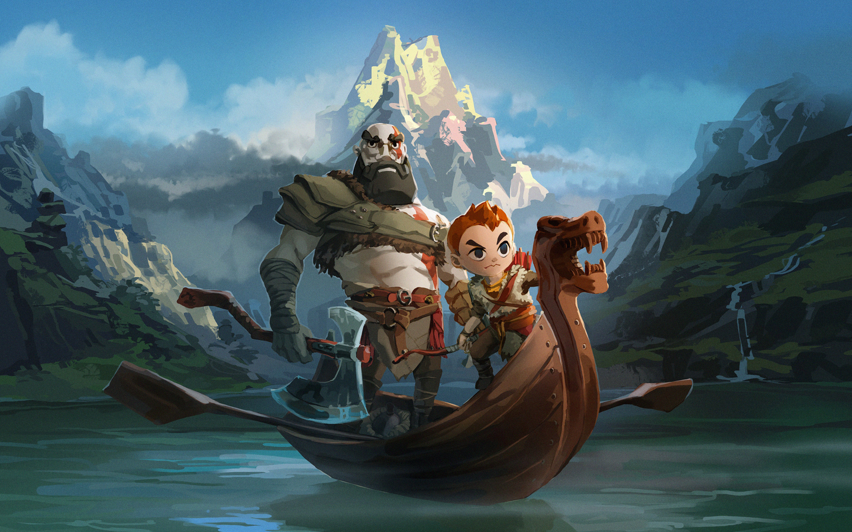 1440x900 Kratos And Atreus God Of War Art 4k 1440x900 Resolution