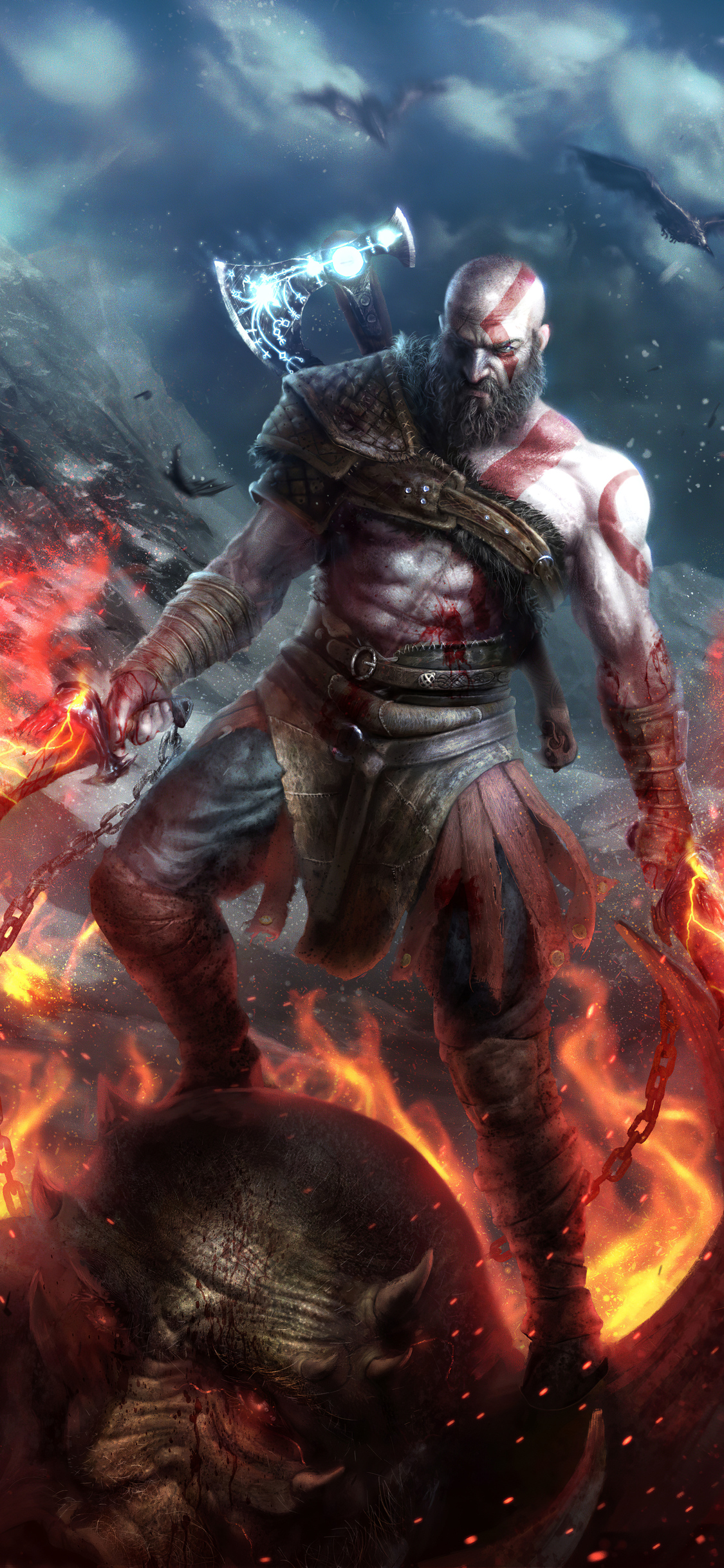 1125x2436 Kratos God Of War Art 4k Iphone Xs Iphone 10 Iphone X Hd