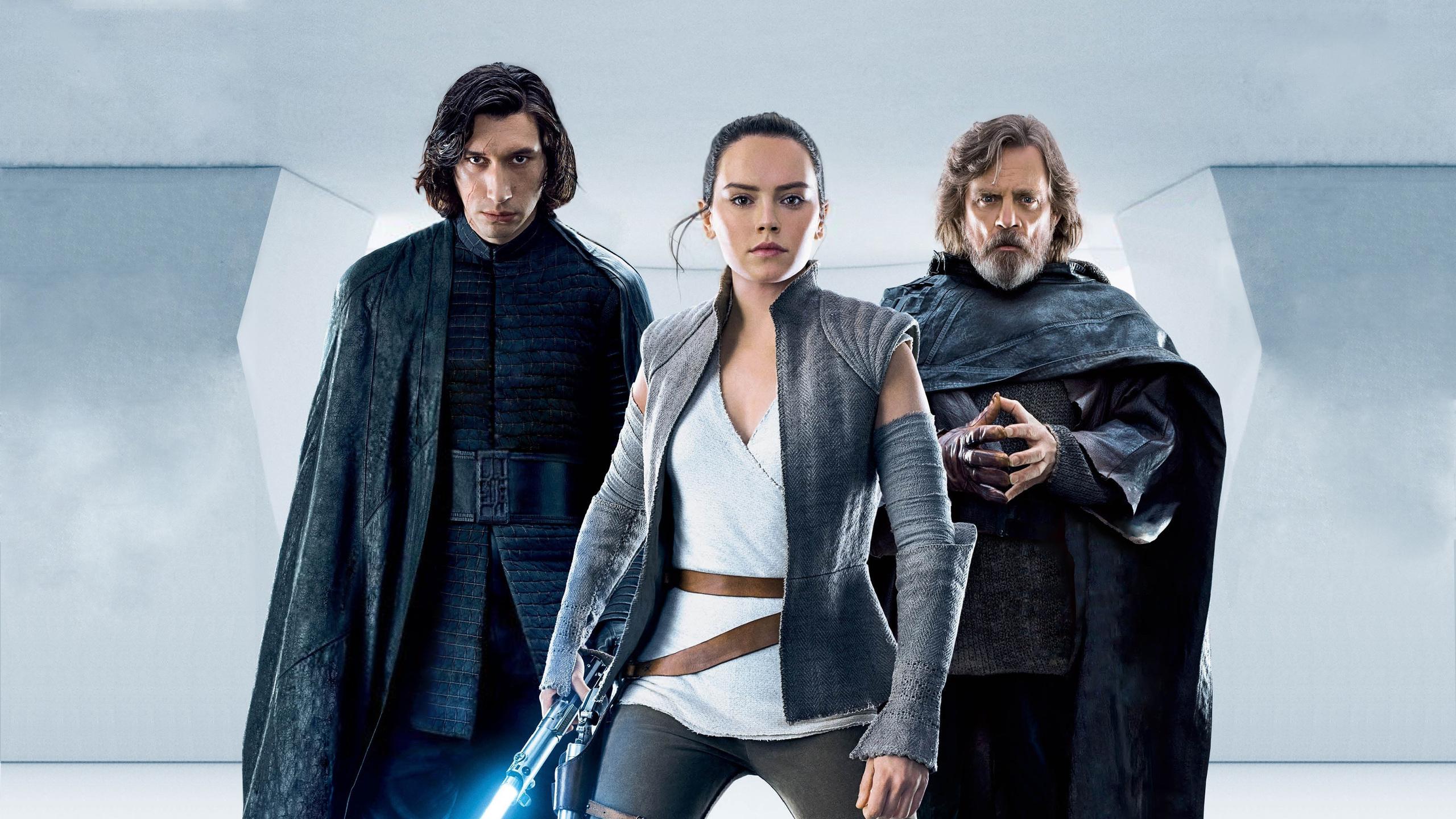 2560x1440 Kylo Ren Rey Luke Skywalker In Star Wars The Last Jedi